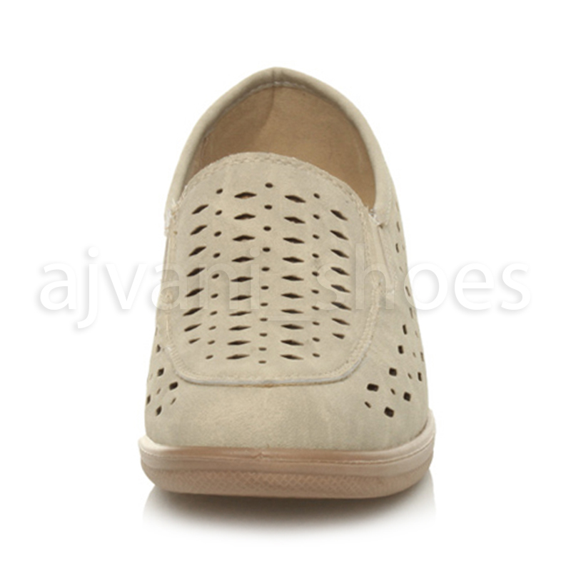 WOMENS-LADIES-MID-HEEL-WEDGE-COMFORT-PADDED-WORK-STITCHED-SHOES-LOAFERS-SIZE thumbnail 6
