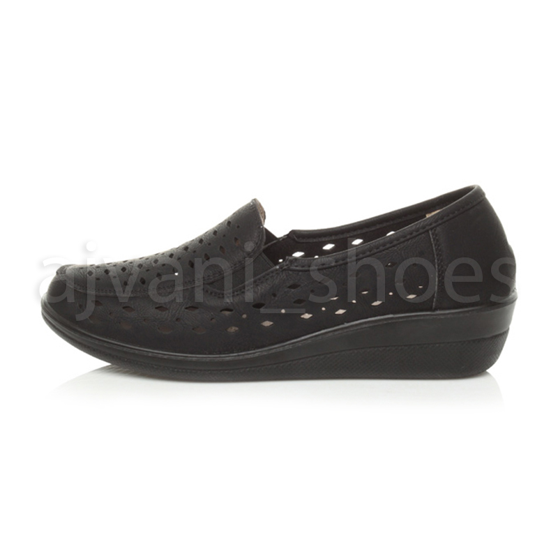 WOMENS-LADIES-MID-HEEL-WEDGE-COMFORT-PADDED-WORK-STITCHED-SHOES-LOAFERS-SIZE thumbnail 13