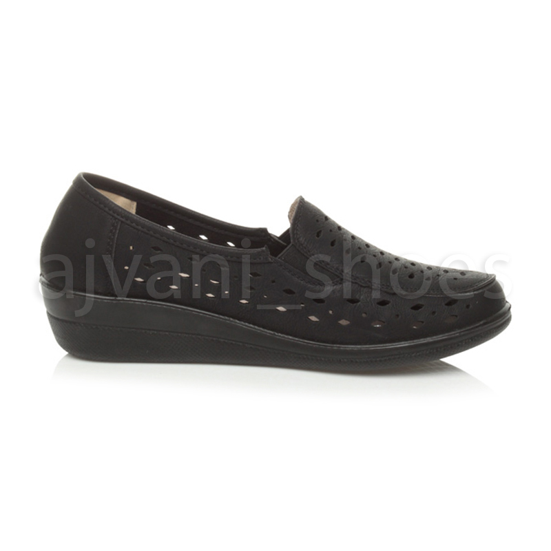 WOMENS-LADIES-MID-HEEL-WEDGE-COMFORT-PADDED-WORK-STITCHED-SHOES-LOAFERS-SIZE thumbnail 14