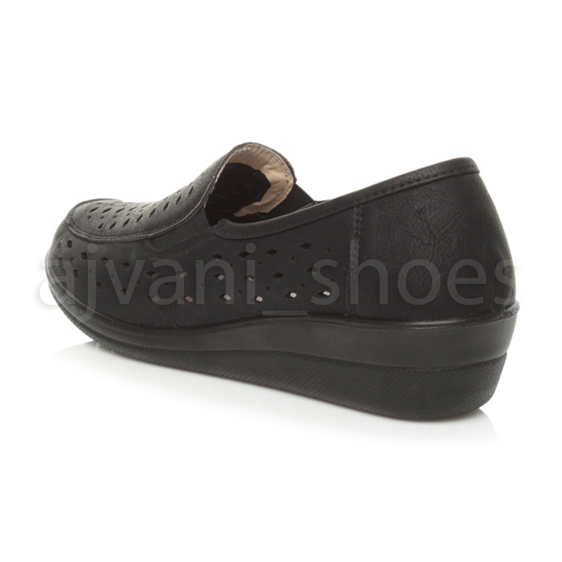 WOMENS-LADIES-MID-HEEL-WEDGE-COMFORT-PADDED-WORK-STITCHED-SHOES-LOAFERS-SIZE thumbnail 15