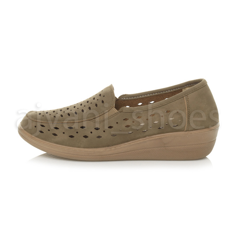 WOMENS-LADIES-MID-HEEL-WEDGE-COMFORT-PADDED-WORK-STITCHED-SHOES-LOAFERS-SIZE thumbnail 18