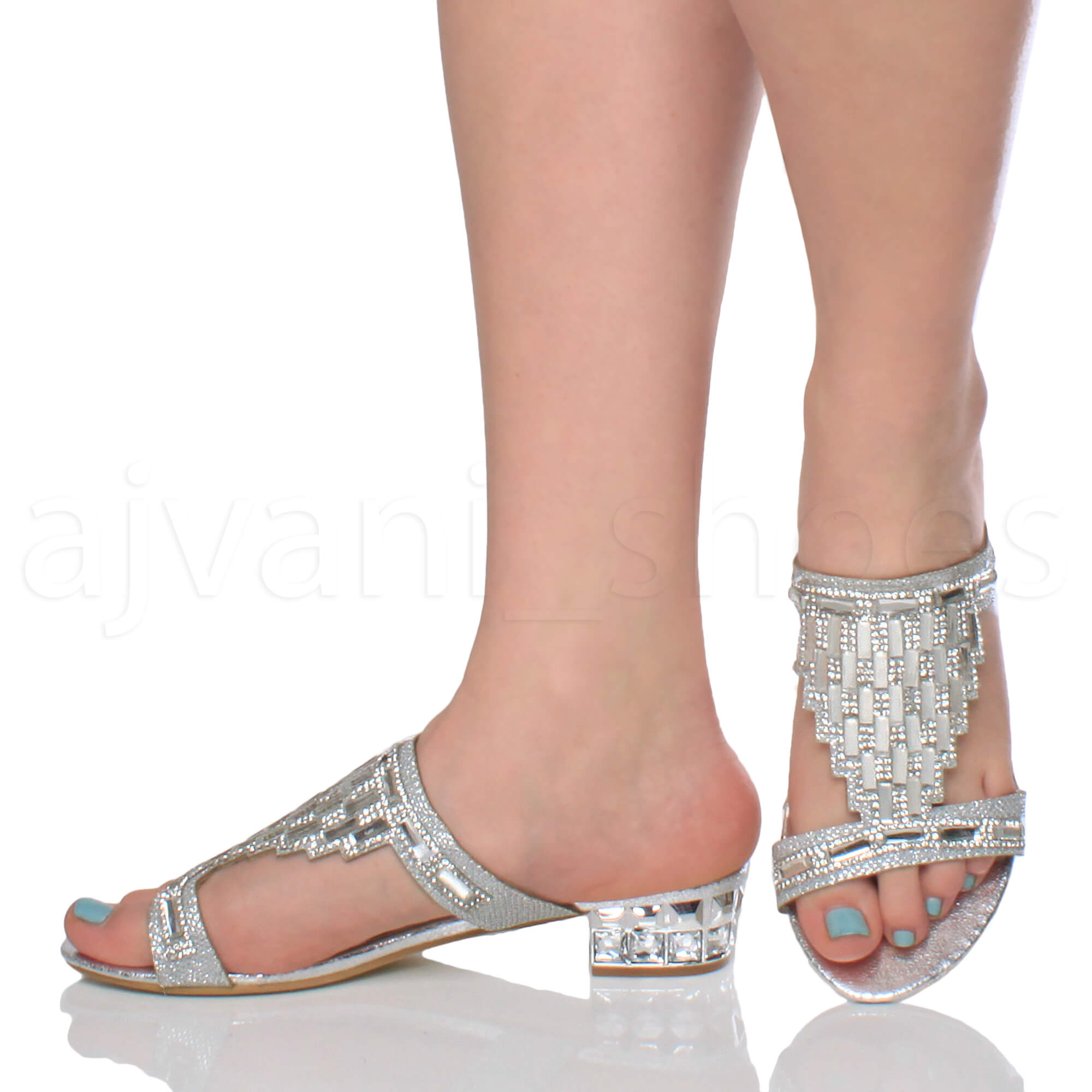 Black Low Heel Jewelled Shoes