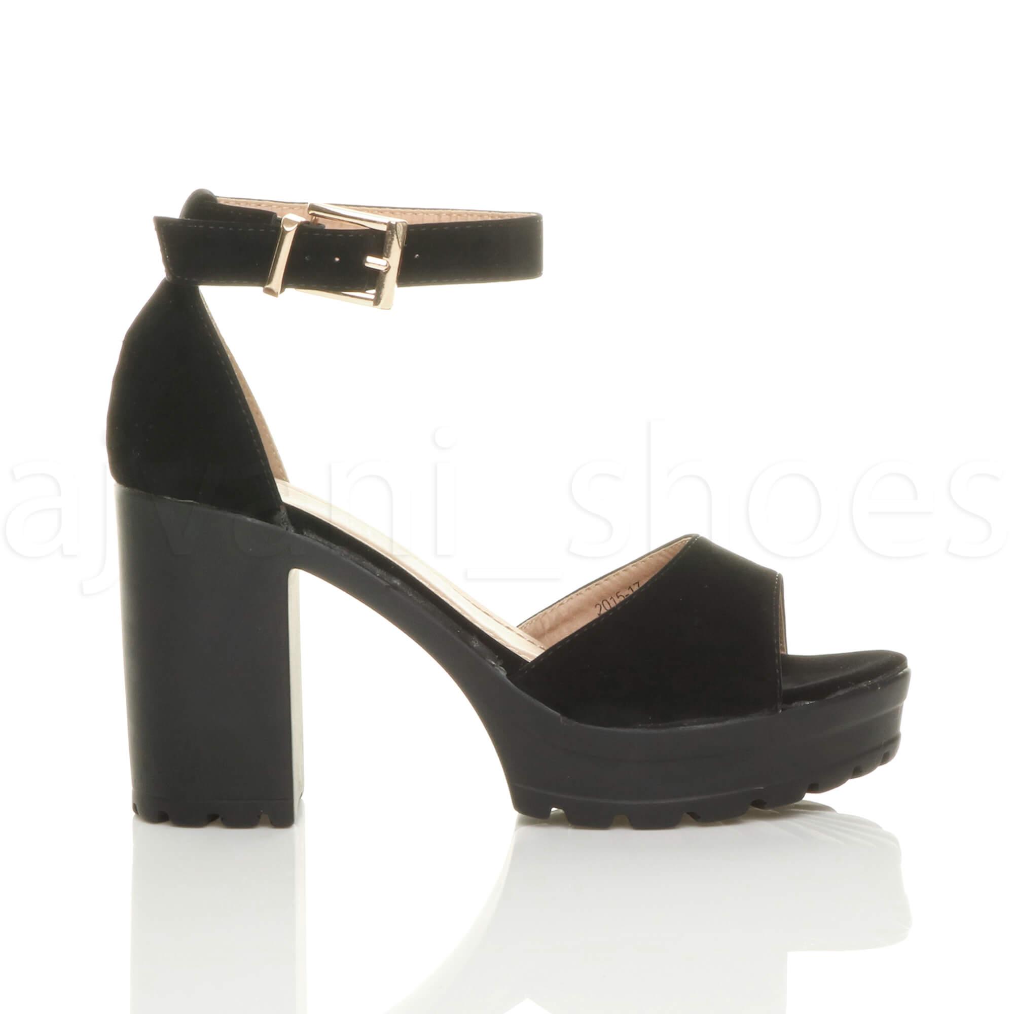Dettagli su Donna tacco alto punta aperta sandali con plateau suola carrarmato taglia