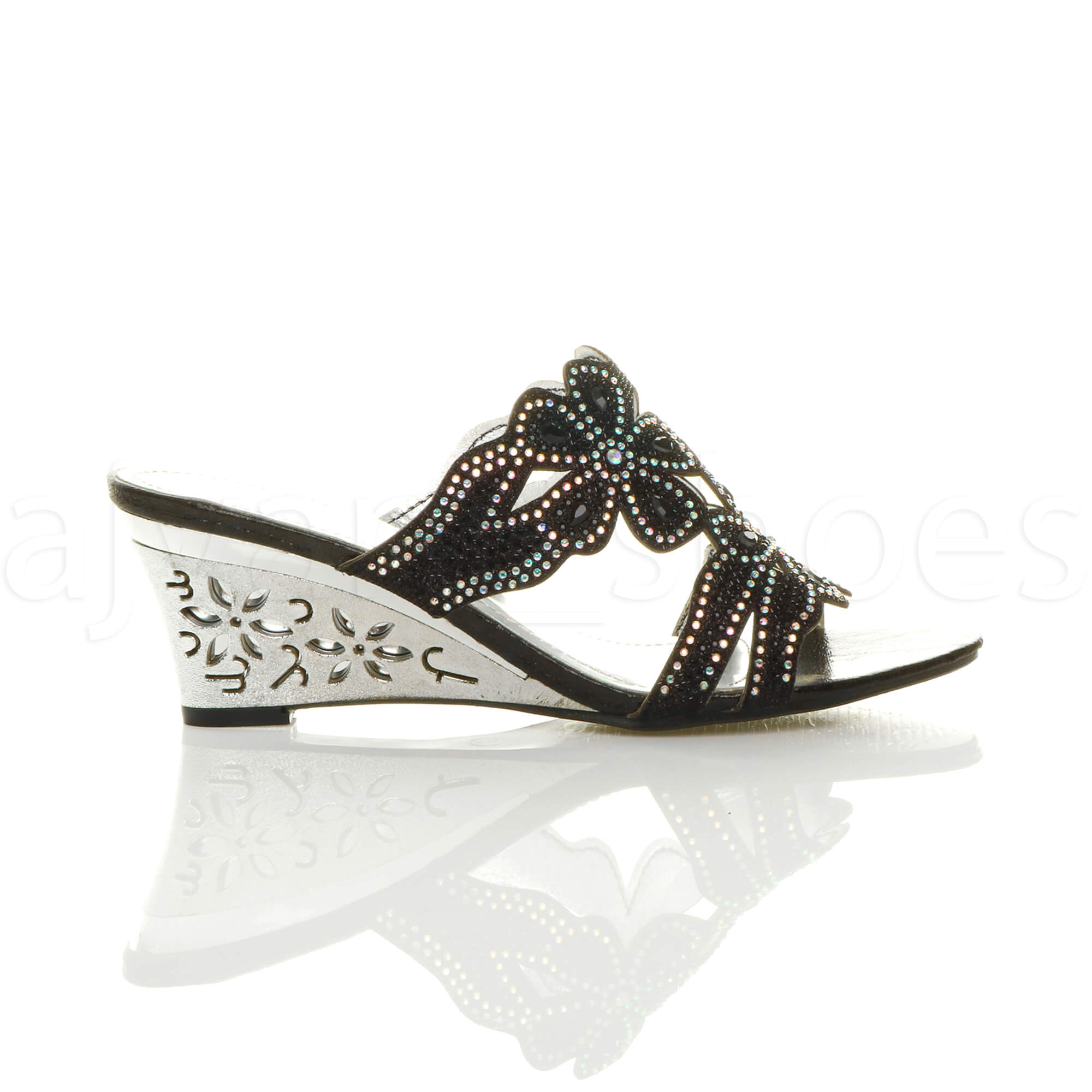 womens ladies mid heel cut out wedge flower diamante mules sandals slippers size ebay. Black Bedroom Furniture Sets. Home Design Ideas