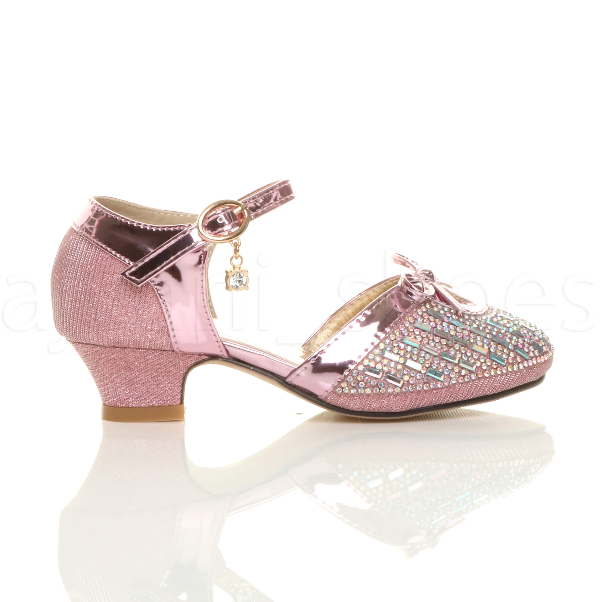 3e865d13b1e9 GIRLS KIDS CHILDRENS LOW HEEL DIAMANTE BOW BUCKLE STRAP COURT SHOES ...