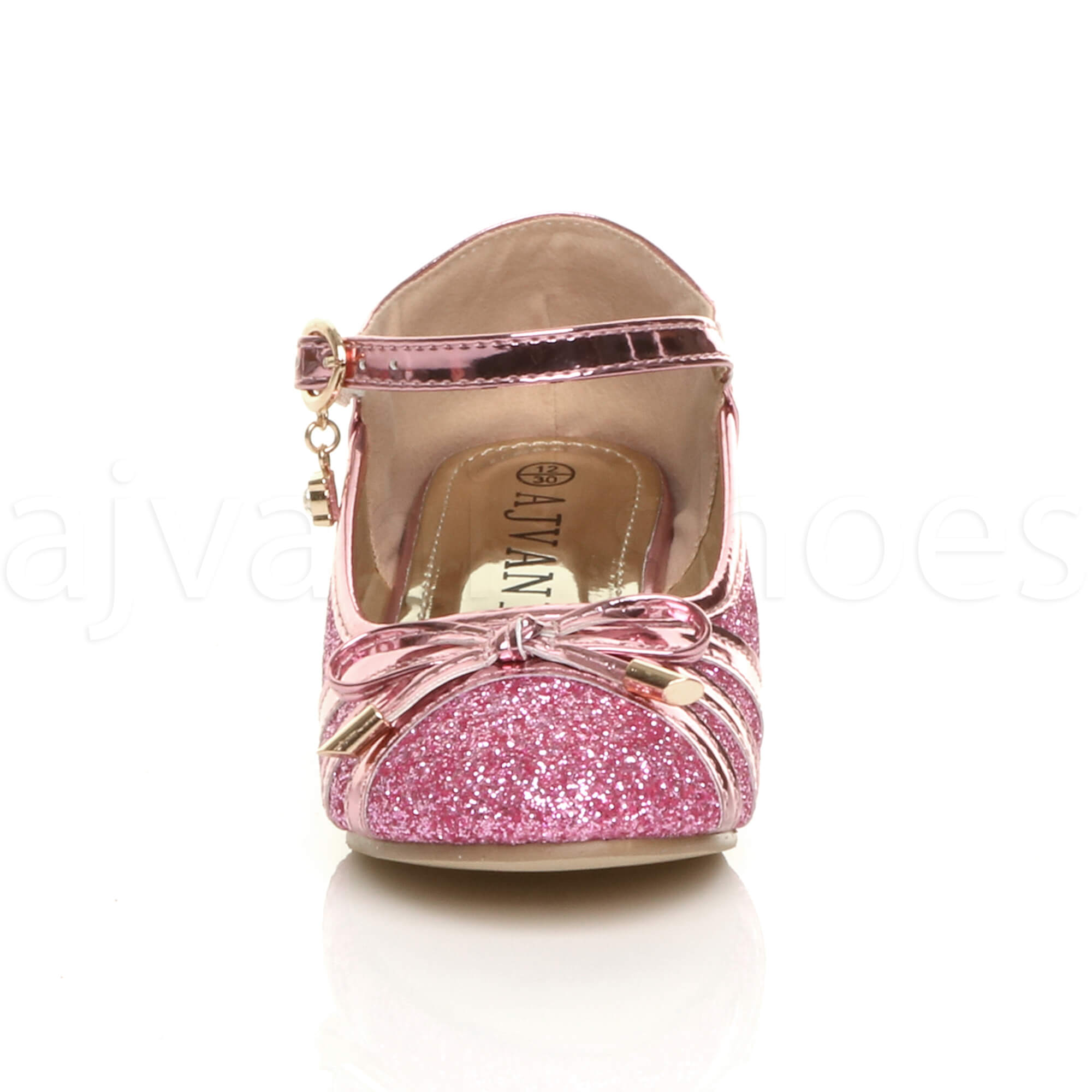 GIRLS-KIDS-CHILDRENS-LOW-HEEL-DIAMANTE-BOW-MARY-JANE-GLITTER-COURT-SHOES-SIZE