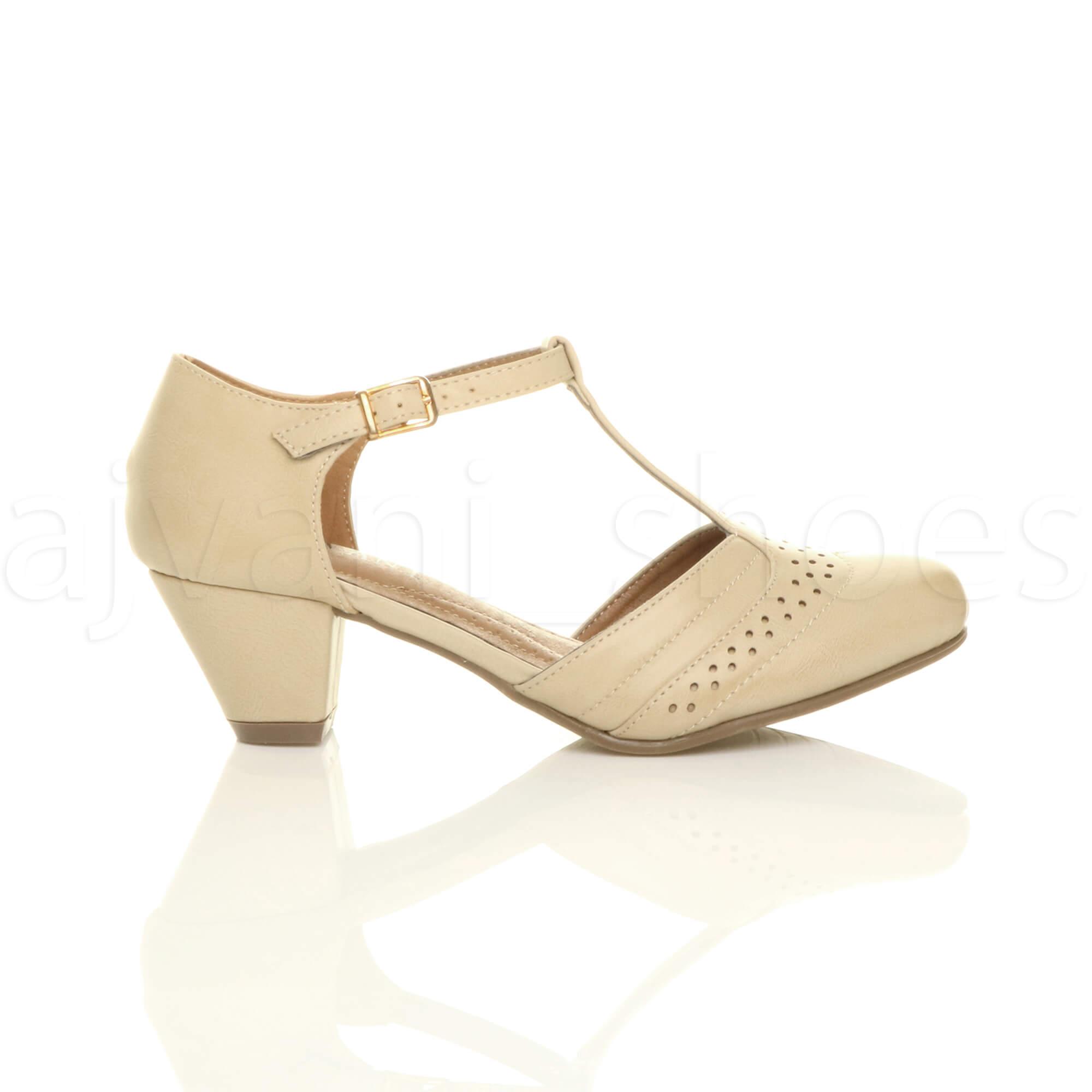 Para-mujeres-Damas-Bloque-Talon-Mediados-T-bar-corte-estilo-Tribunal-Zapatos-Sandalias-Tamano