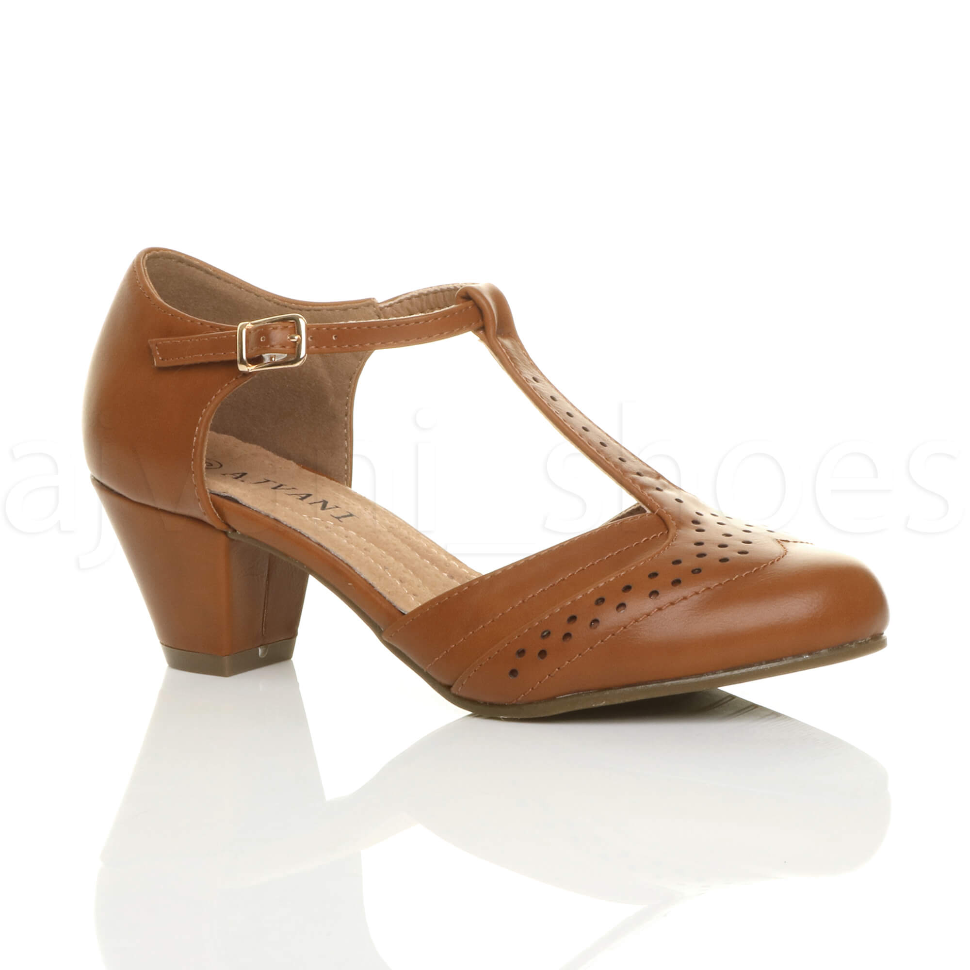 WOMENS-LADIES-MID-BLOCK-HEEL-T-BAR-CUT-OUT-BROGUE-COURT-SHOES-SANDALS-SIZE