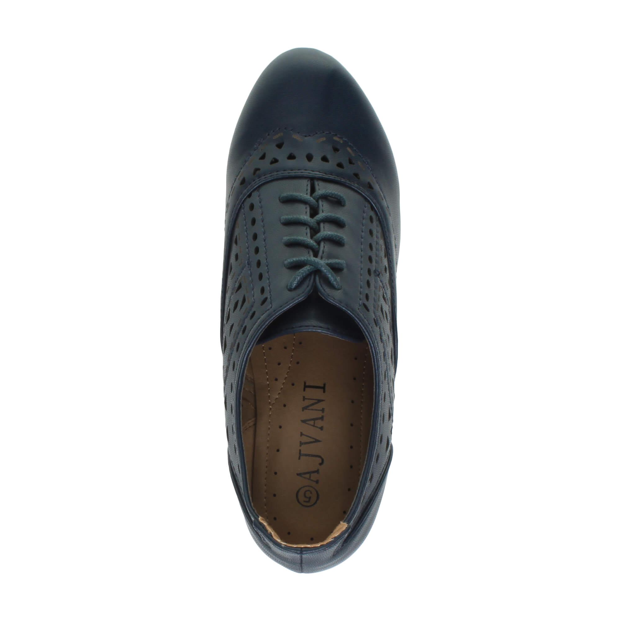 Mujeres-tacon-medio-recortar-con-cordones-zapatos-gruesos-botines-botas-talla
