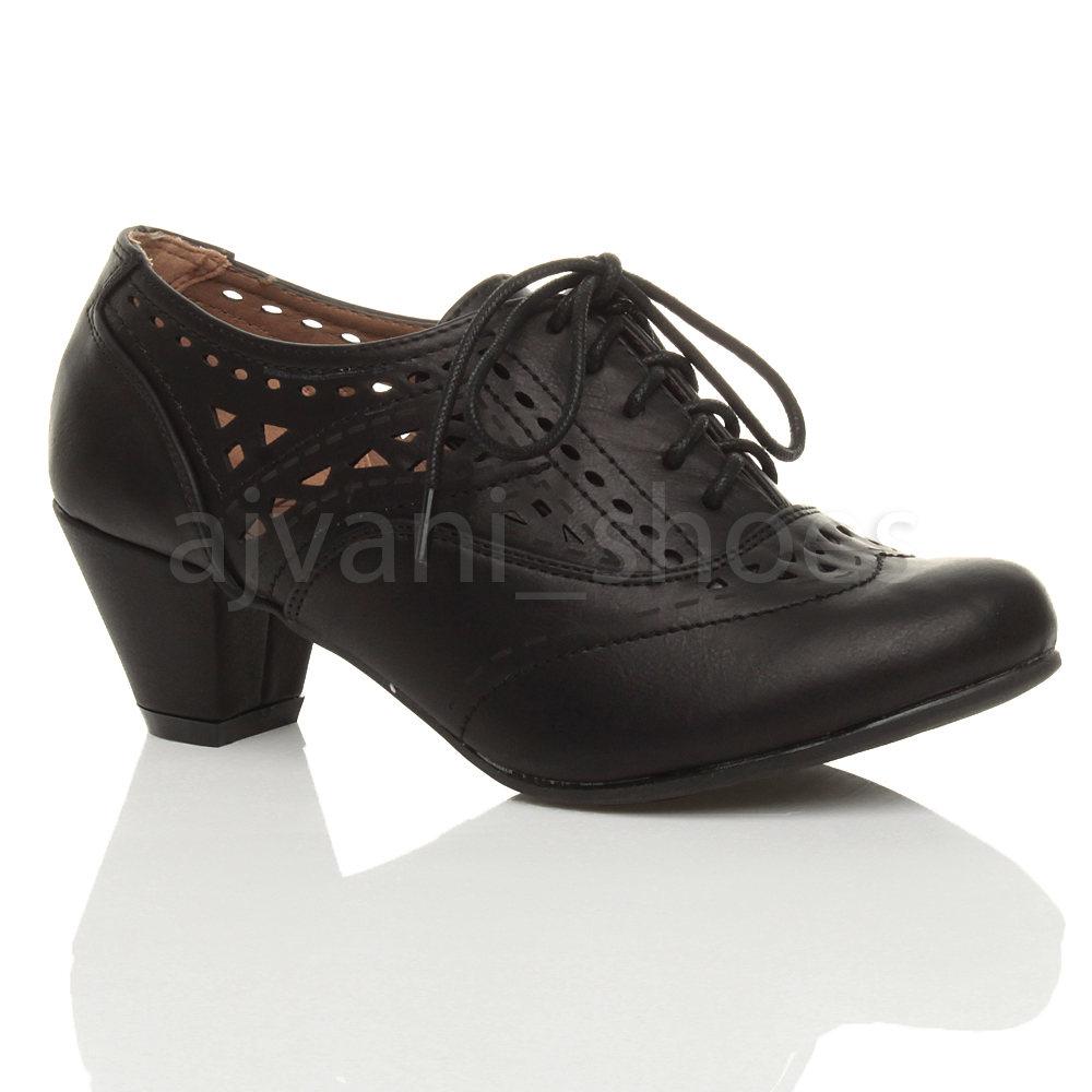WOMENS-LADIES-MID-BLOCK-HEEL-CUT-OUT-LACE-UP-BROGUE-SHOE-BOOTS-BOOTIES-SIZE