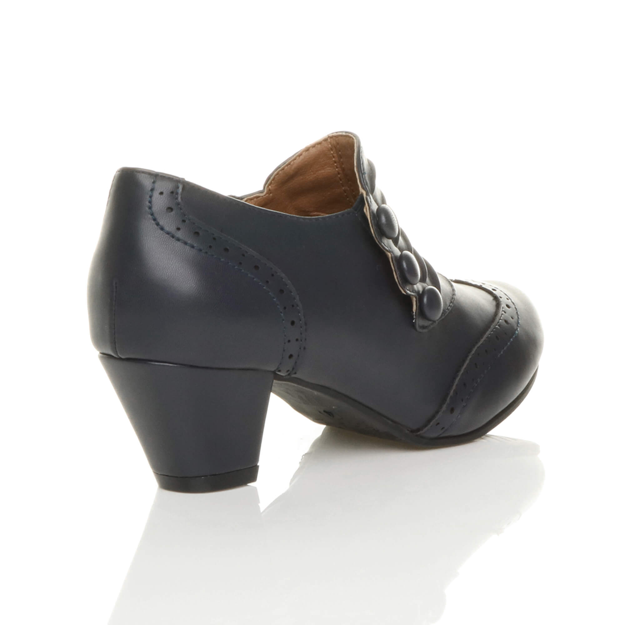 WOMENS-LADIES-MID-BLOCK-HEEL-BUTTON-ZIP-BROGUE-ANKLE-SHOE-BOOTS-BOOTIES-SIZE