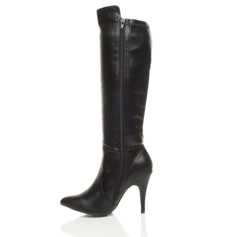 WOMENS-LADIES-HIGH-HEEL-PARTY-ZIP-STRETCH-CALF-KNEE-RIDING-POINTED-BOOTS-SIZE