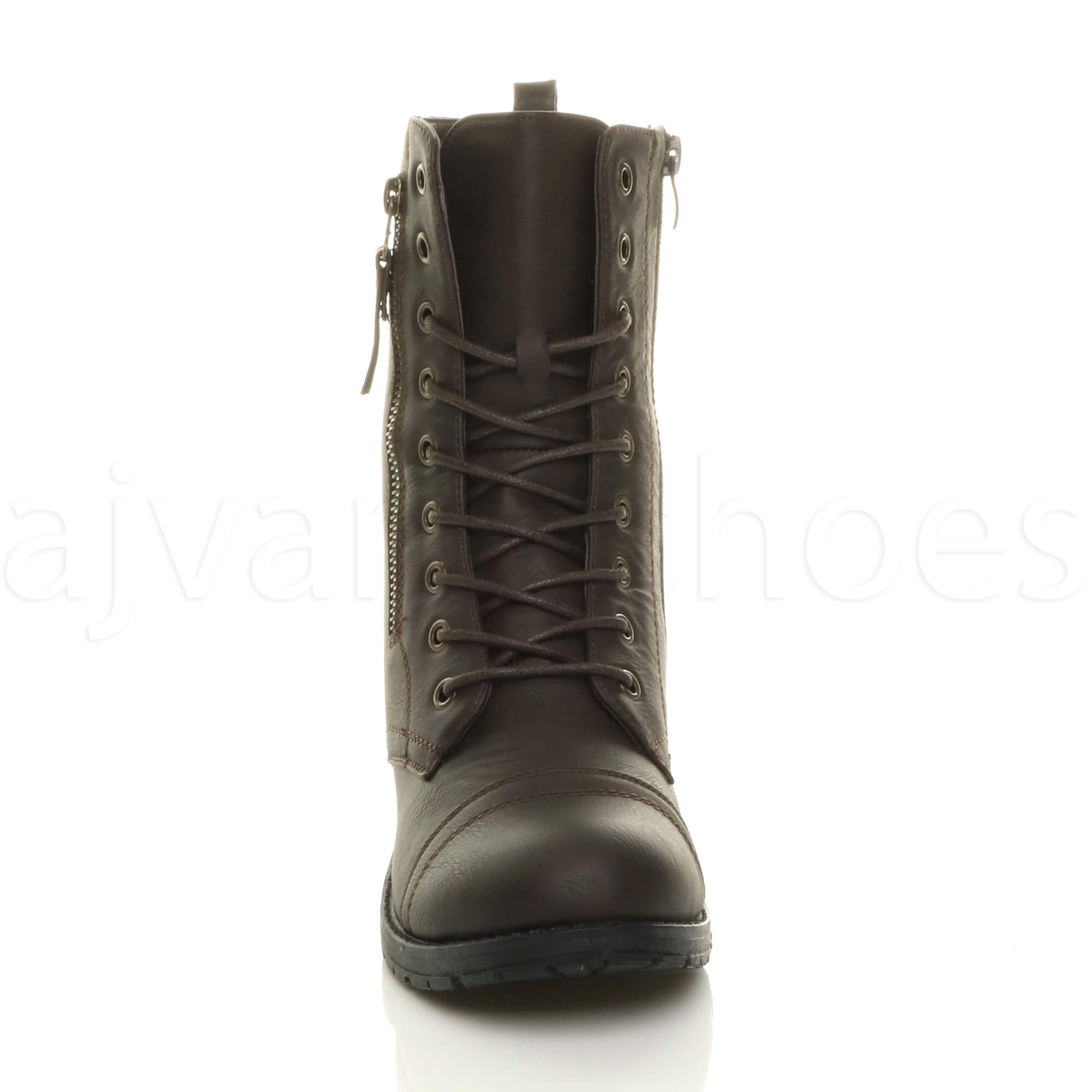 WOMENS-LADIES-FLAT-LOW-HEEL-LACE-UP-ZIP-COMBAT-ARMY-MILITARY-ANKLE-BOOTS-SIZE
