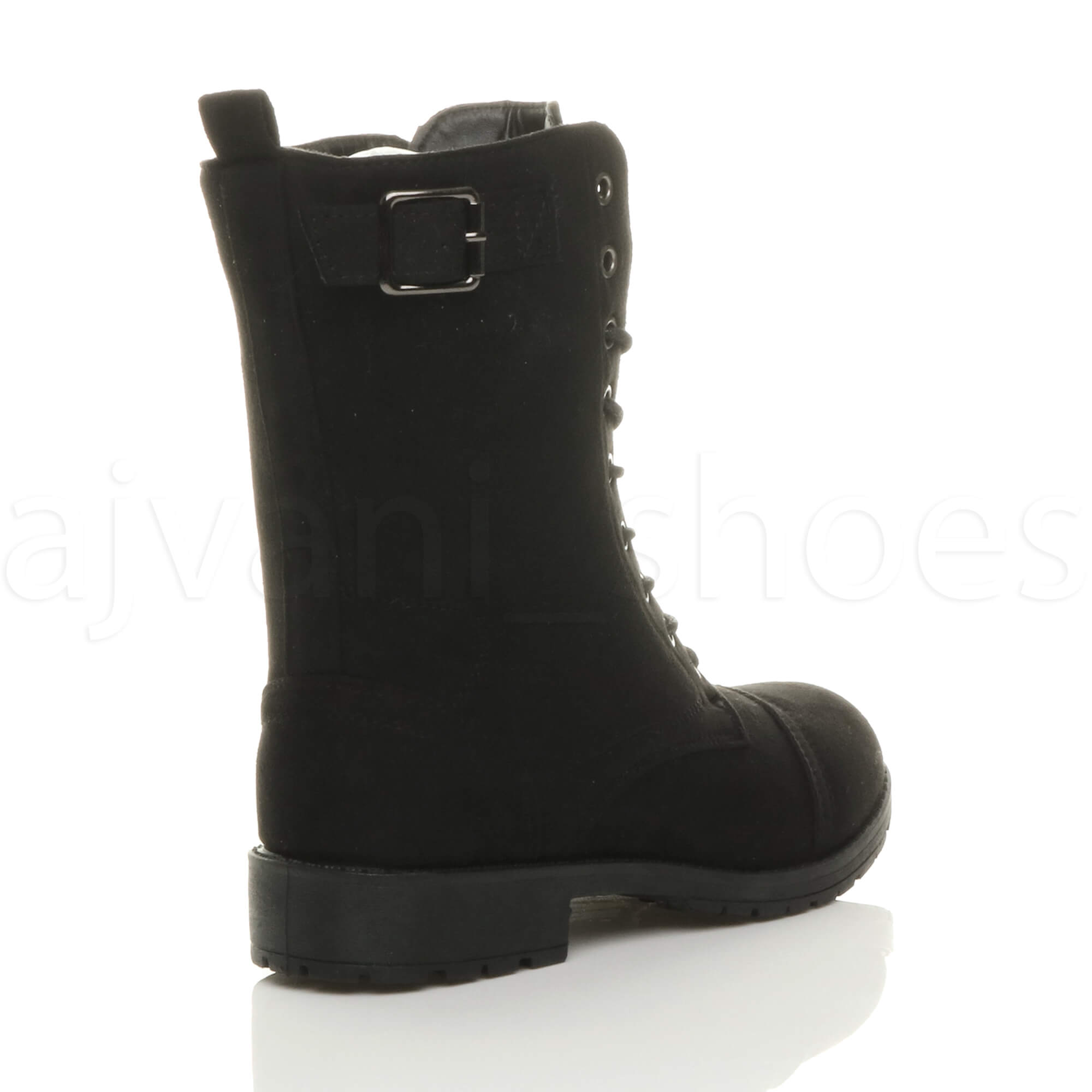 WOMENS-LADIES-LOW-HEEL-LACE-UP-ZIP-BIKER-ARMY-MILITARY-COMBAT-ANKLE-BOOTS-SIZE