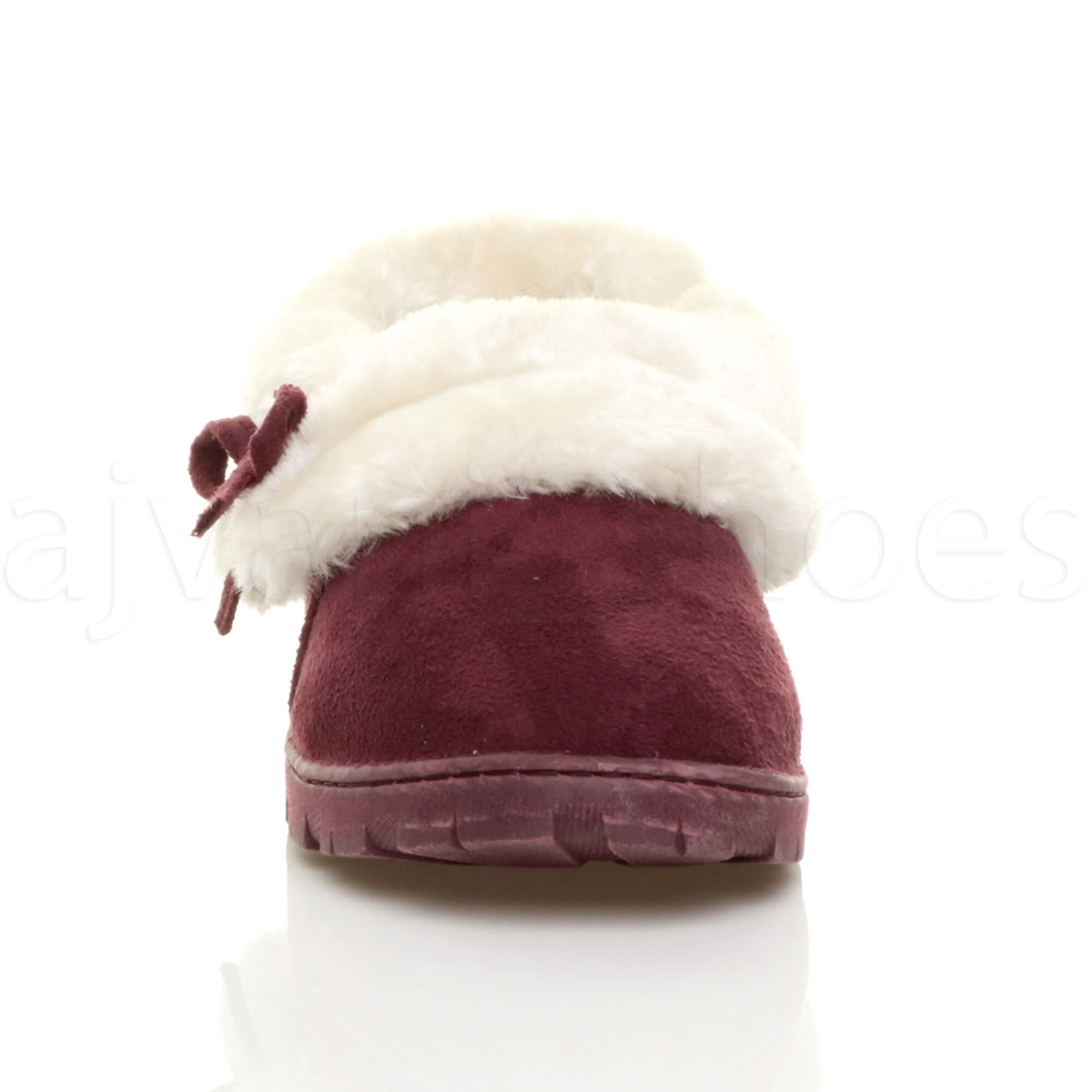 WOMENS-LADIES-FLAT-WINTER-FUR-LINED-LUXURY-SLIP-ON-ANKLE-BOOTIES-SLIPPERS-SIZE