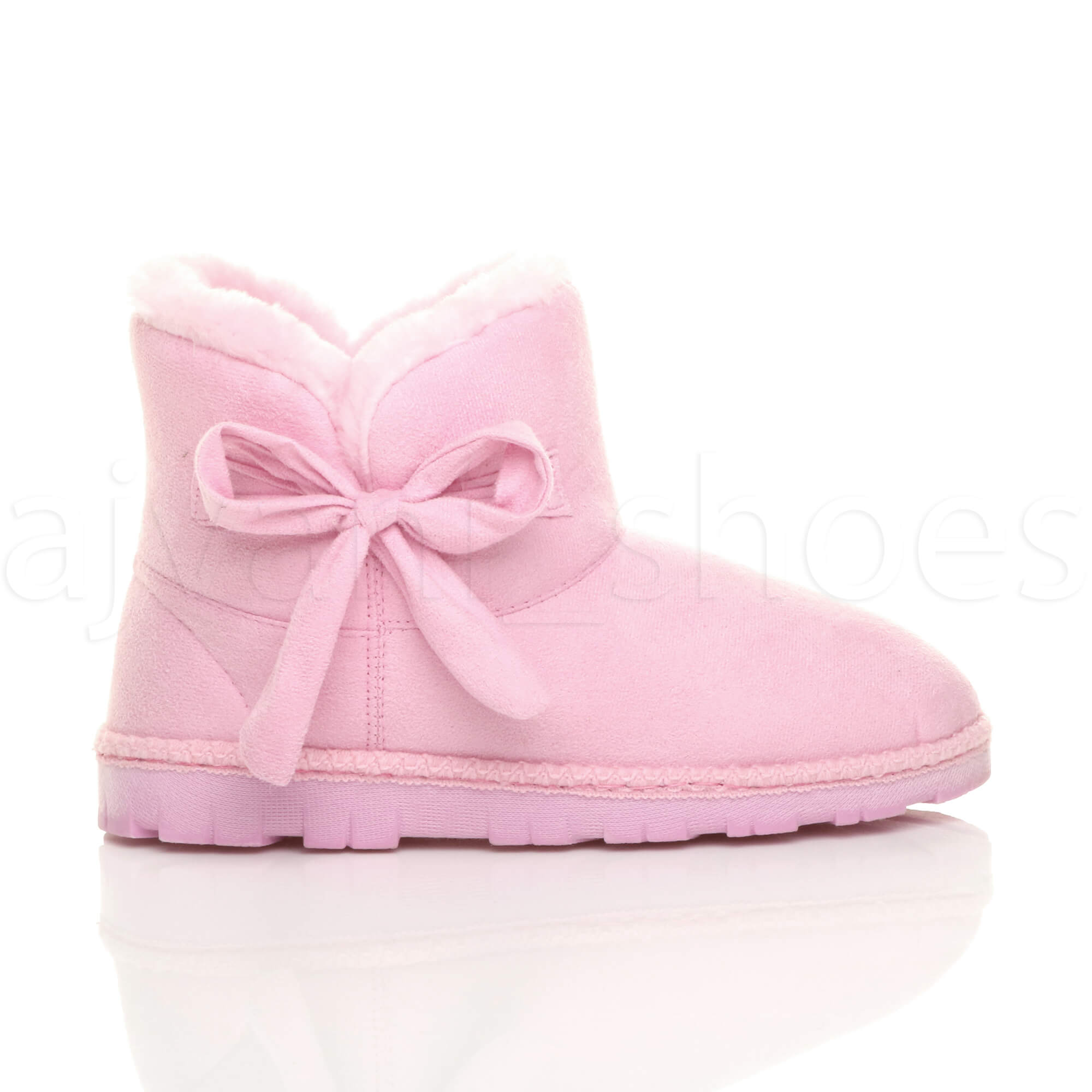 WOMENS-LADIES-FLAT-BOW-PULL-ON-COSY-FUR-LINED-ANKLE-BOOTS-BOOTIES-SLIPPERS-SIZE