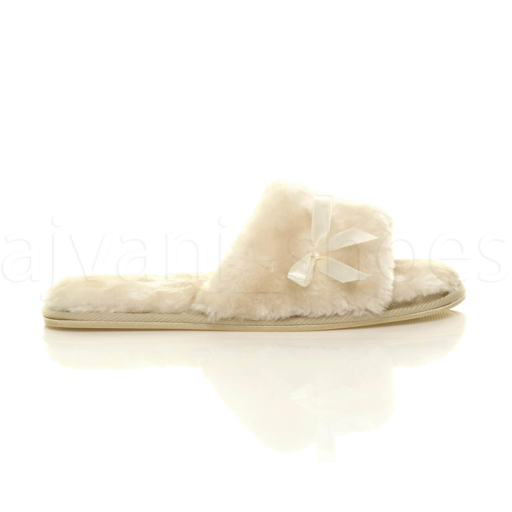 WOMENS-LADIES-FLAT-PEEP-TOE-BOW-LUXURY-COSY-FUR-LINED-SLIP-ON-SLIPPERS-SIZE thumbnail 3