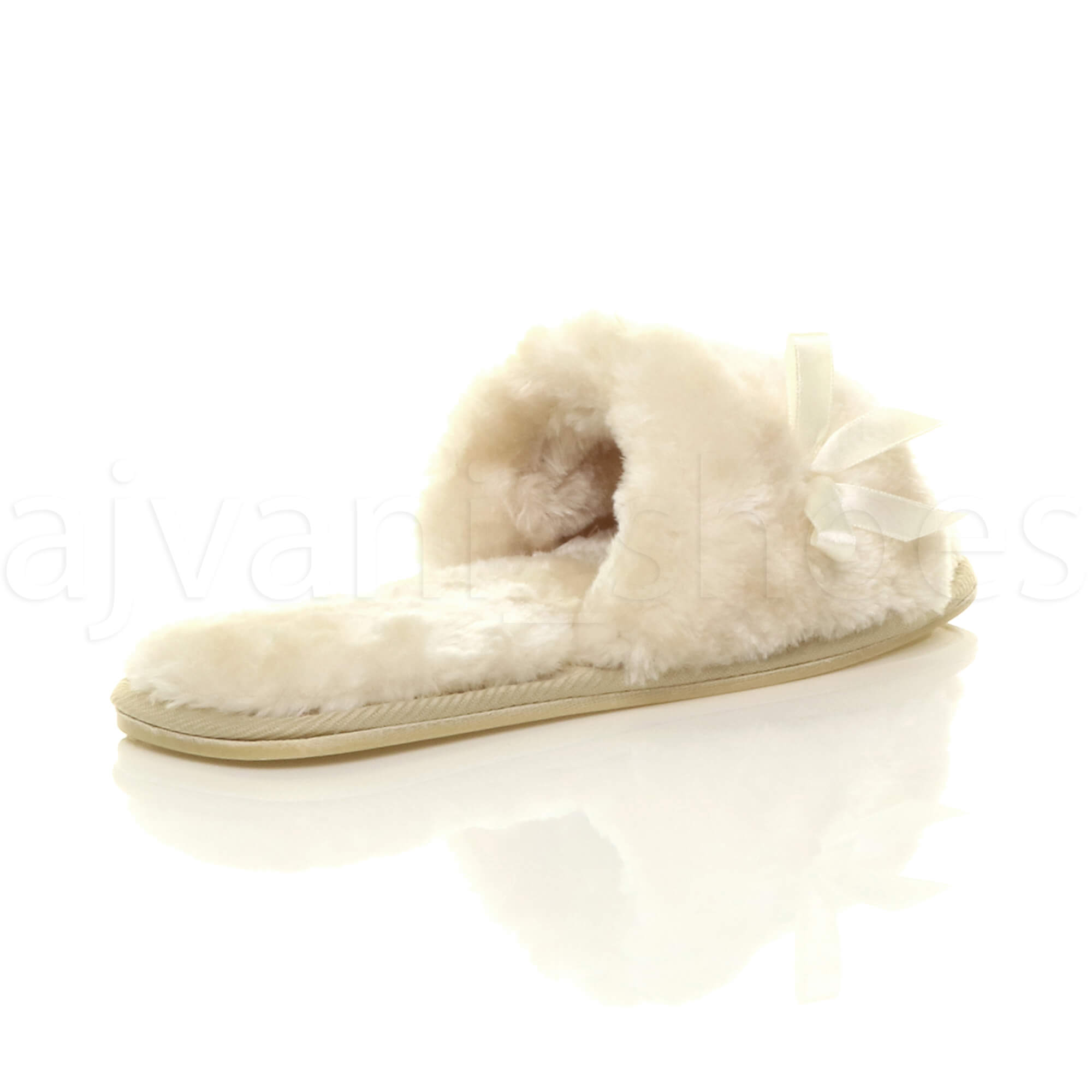 WOMENS-LADIES-FLAT-PEEP-TOE-BOW-LUXURY-COSY-FUR-LINED-SLIP-ON-SLIPPERS-SIZE thumbnail 5