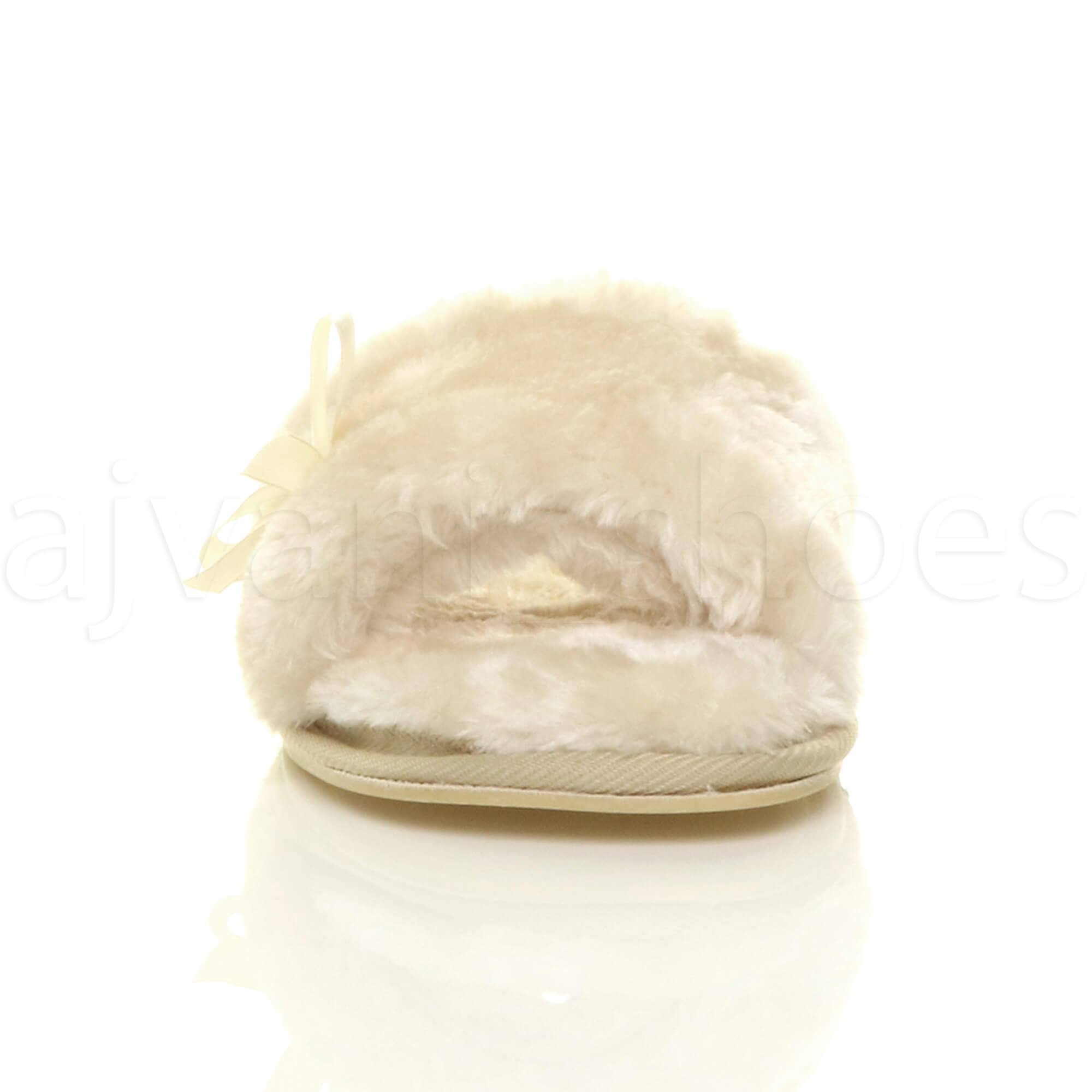 WOMENS-LADIES-FLAT-PEEP-TOE-BOW-LUXURY-COSY-FUR-LINED-SLIP-ON-SLIPPERS-SIZE thumbnail 7