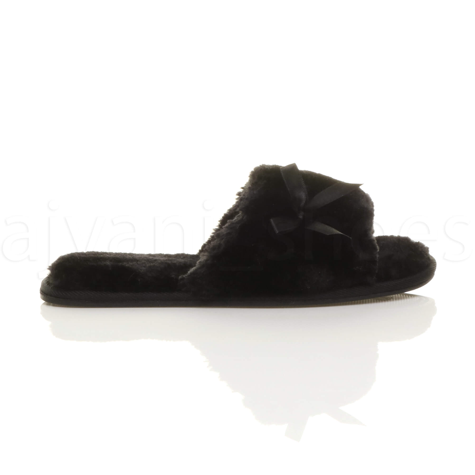 WOMENS-LADIES-FLAT-PEEP-TOE-BOW-LUXURY-COSY-FUR-LINED-SLIP-ON-SLIPPERS-SIZE thumbnail 11