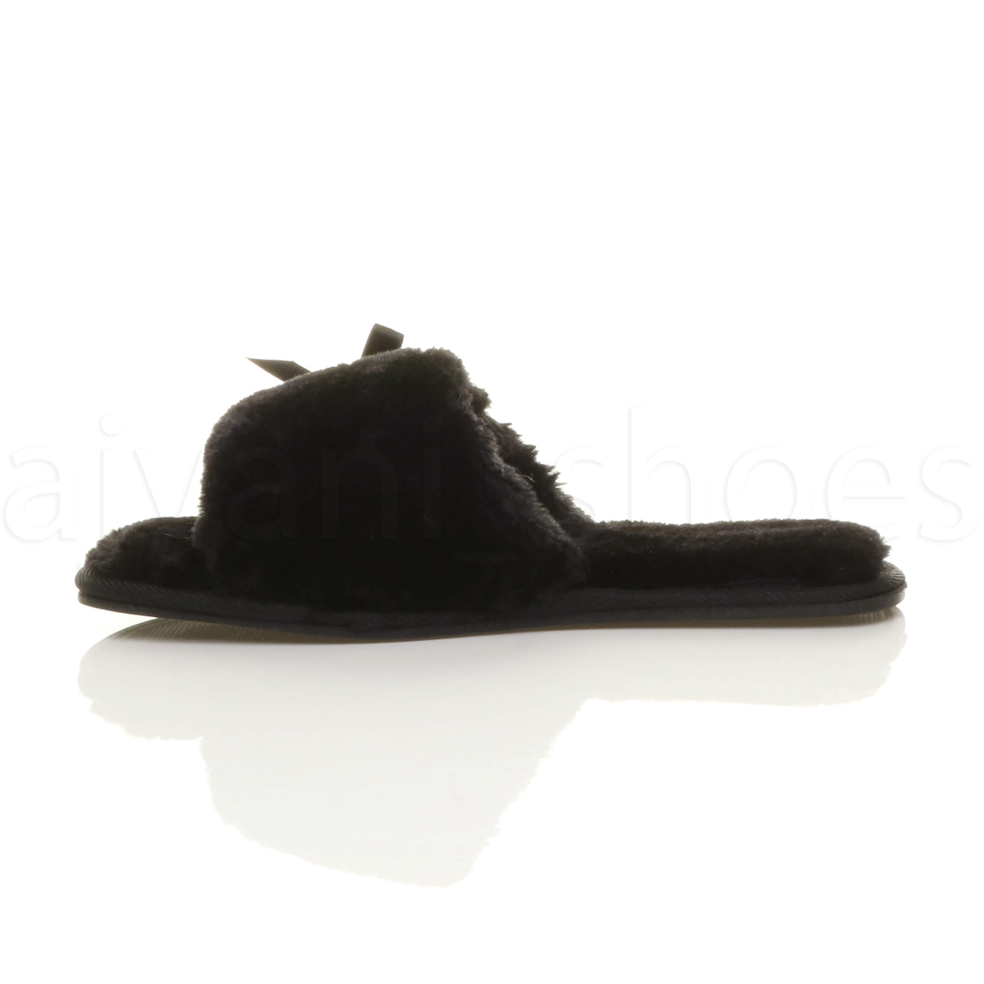 WOMENS-LADIES-FLAT-PEEP-TOE-BOW-LUXURY-COSY-FUR-LINED-SLIP-ON-SLIPPERS-SIZE thumbnail 12