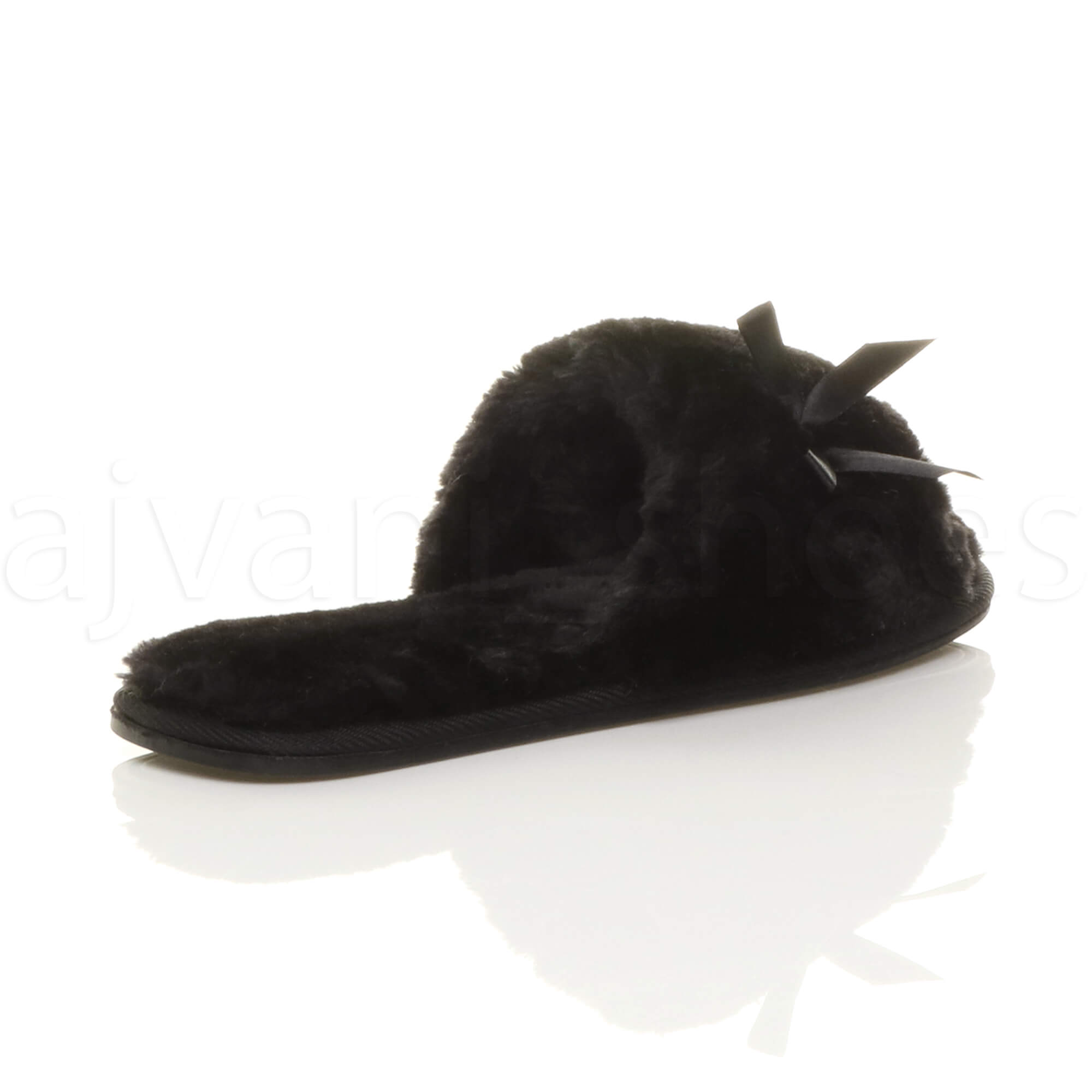 WOMENS-LADIES-FLAT-PEEP-TOE-BOW-LUXURY-COSY-FUR-LINED-SLIP-ON-SLIPPERS-SIZE thumbnail 13