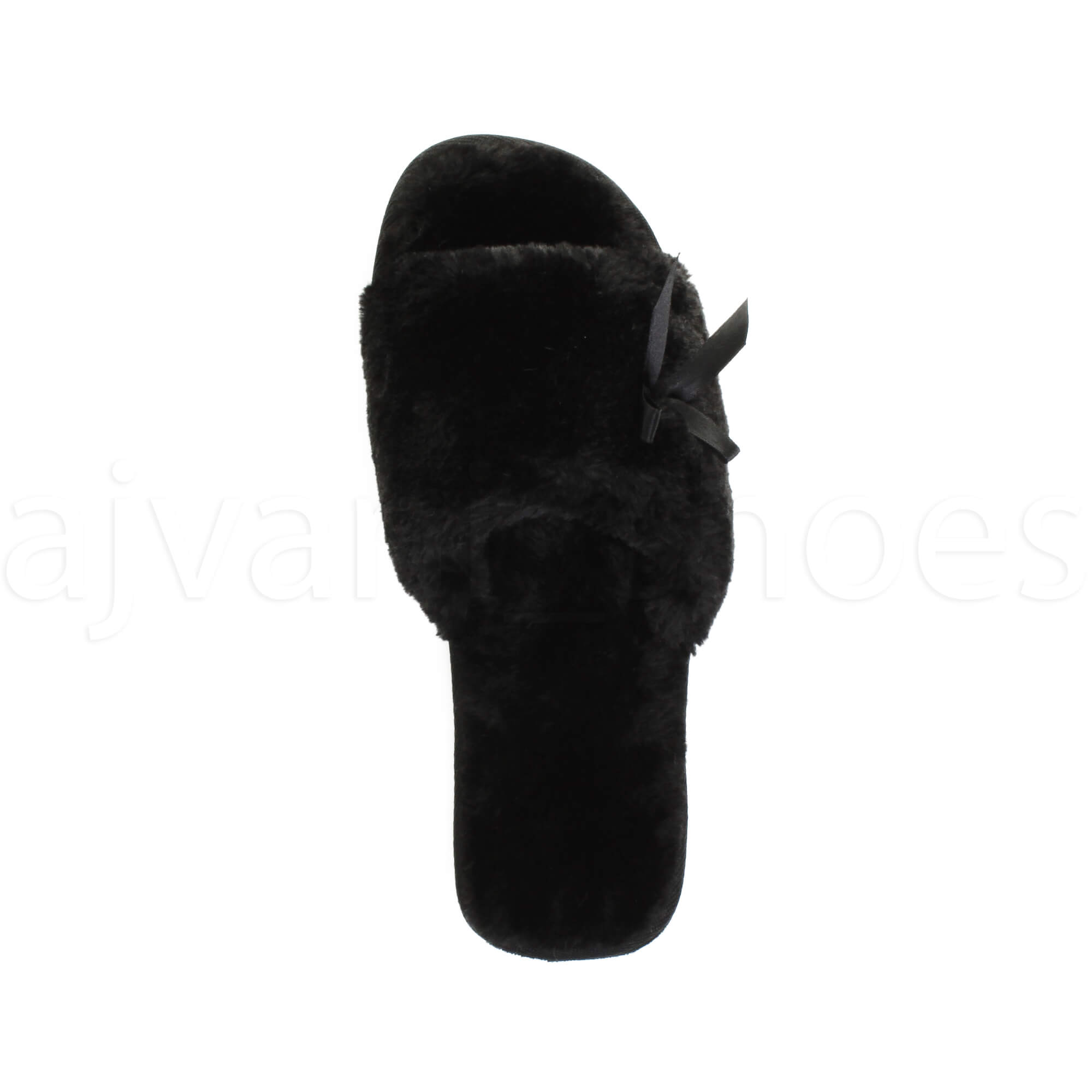 WOMENS-LADIES-FLAT-PEEP-TOE-BOW-LUXURY-COSY-FUR-LINED-SLIP-ON-SLIPPERS-SIZE thumbnail 14