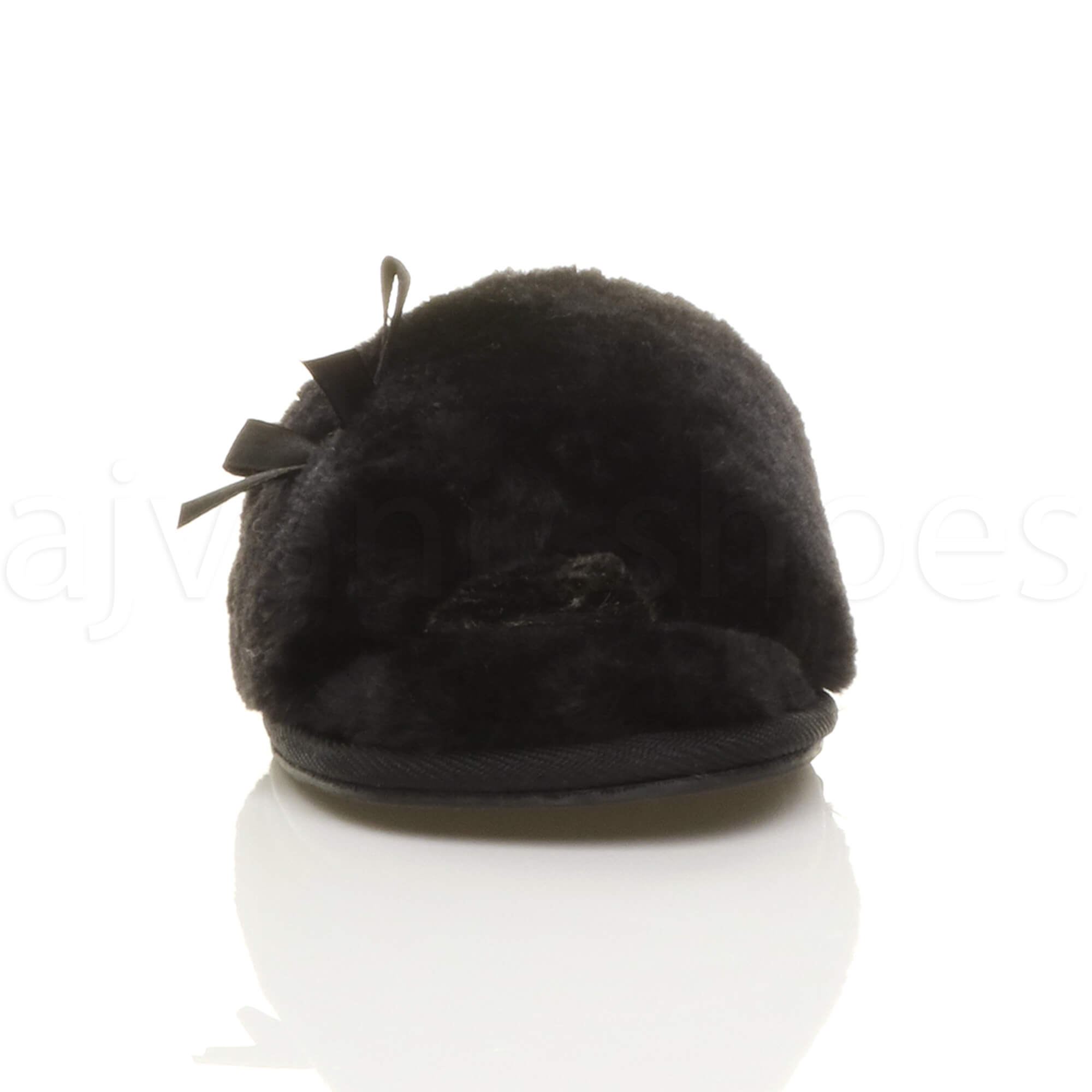 WOMENS-LADIES-FLAT-PEEP-TOE-BOW-LUXURY-COSY-FUR-LINED-SLIP-ON-SLIPPERS-SIZE thumbnail 15