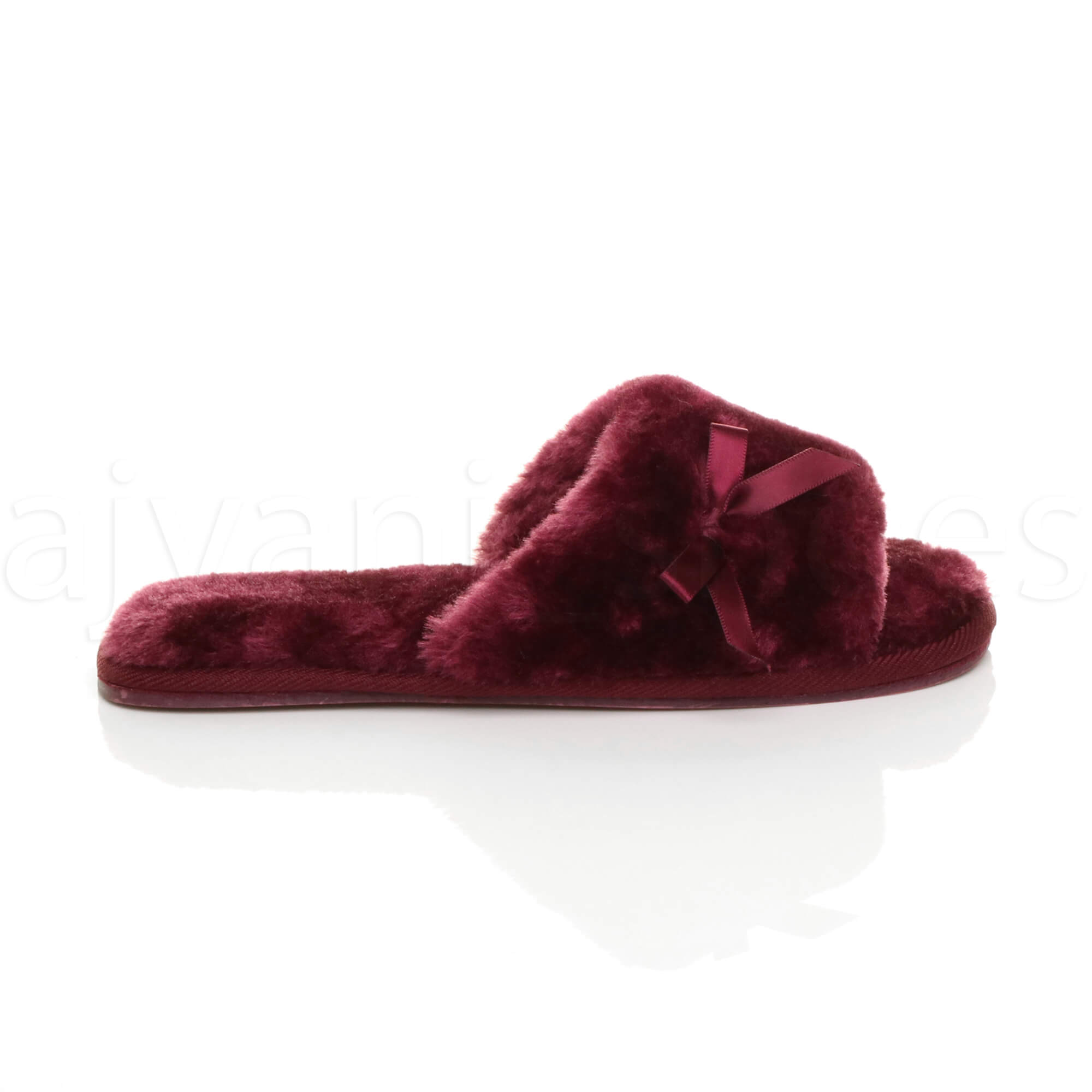 WOMENS-LADIES-FLAT-PEEP-TOE-BOW-LUXURY-COSY-FUR-LINED-SLIP-ON-SLIPPERS-SIZE thumbnail 19