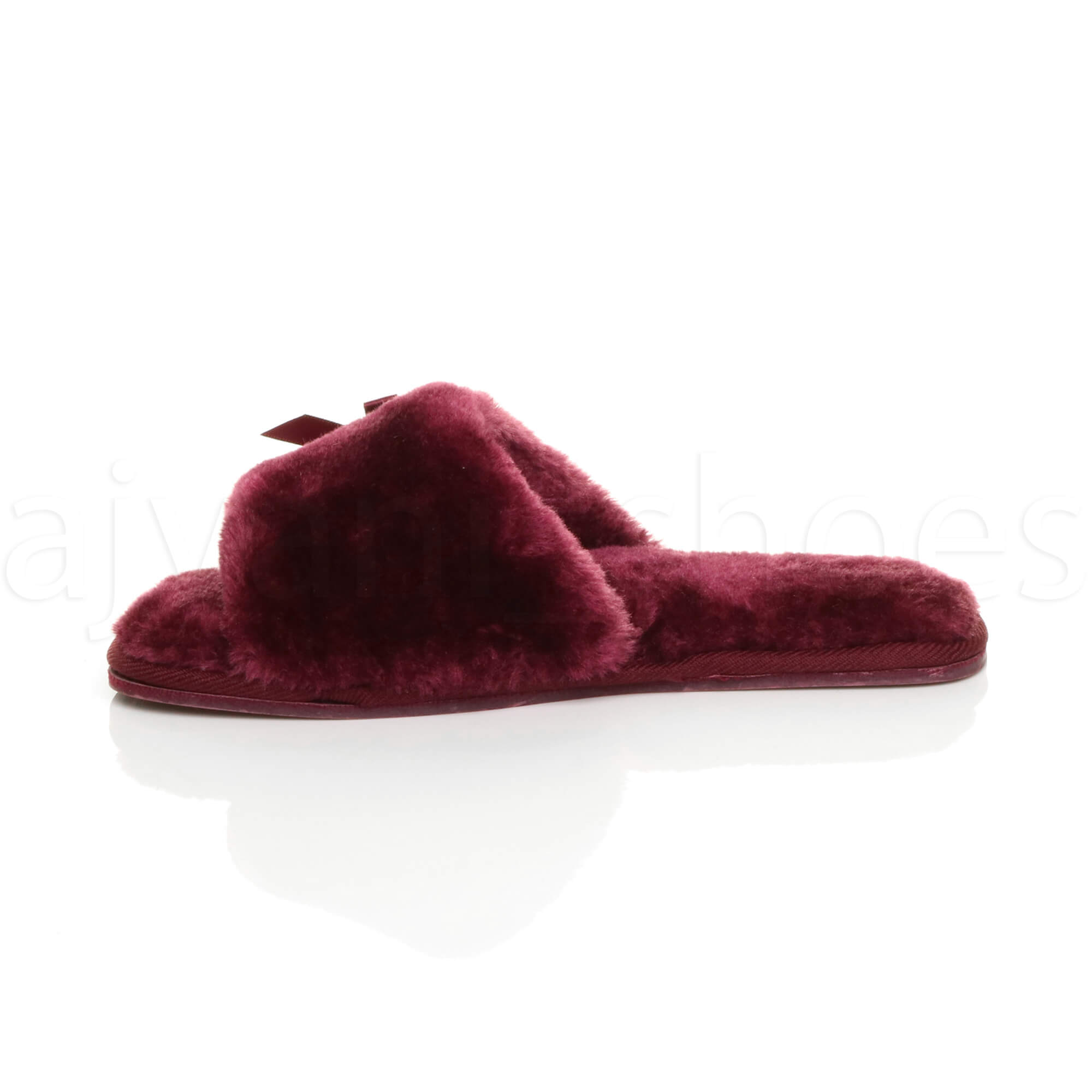 WOMENS-LADIES-FLAT-PEEP-TOE-BOW-LUXURY-COSY-FUR-LINED-SLIP-ON-SLIPPERS-SIZE thumbnail 20