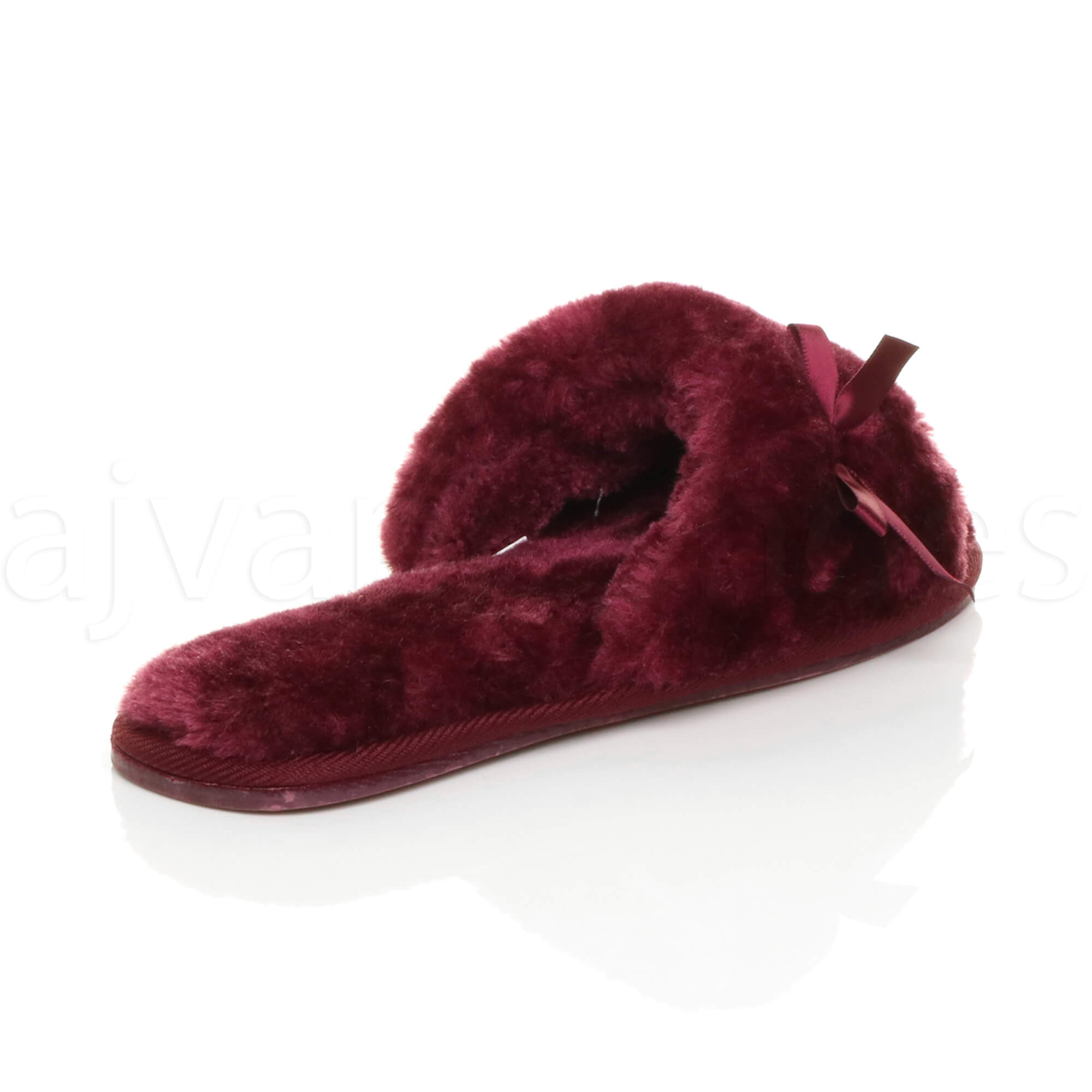 WOMENS-LADIES-FLAT-PEEP-TOE-BOW-LUXURY-COSY-FUR-LINED-SLIP-ON-SLIPPERS-SIZE thumbnail 21