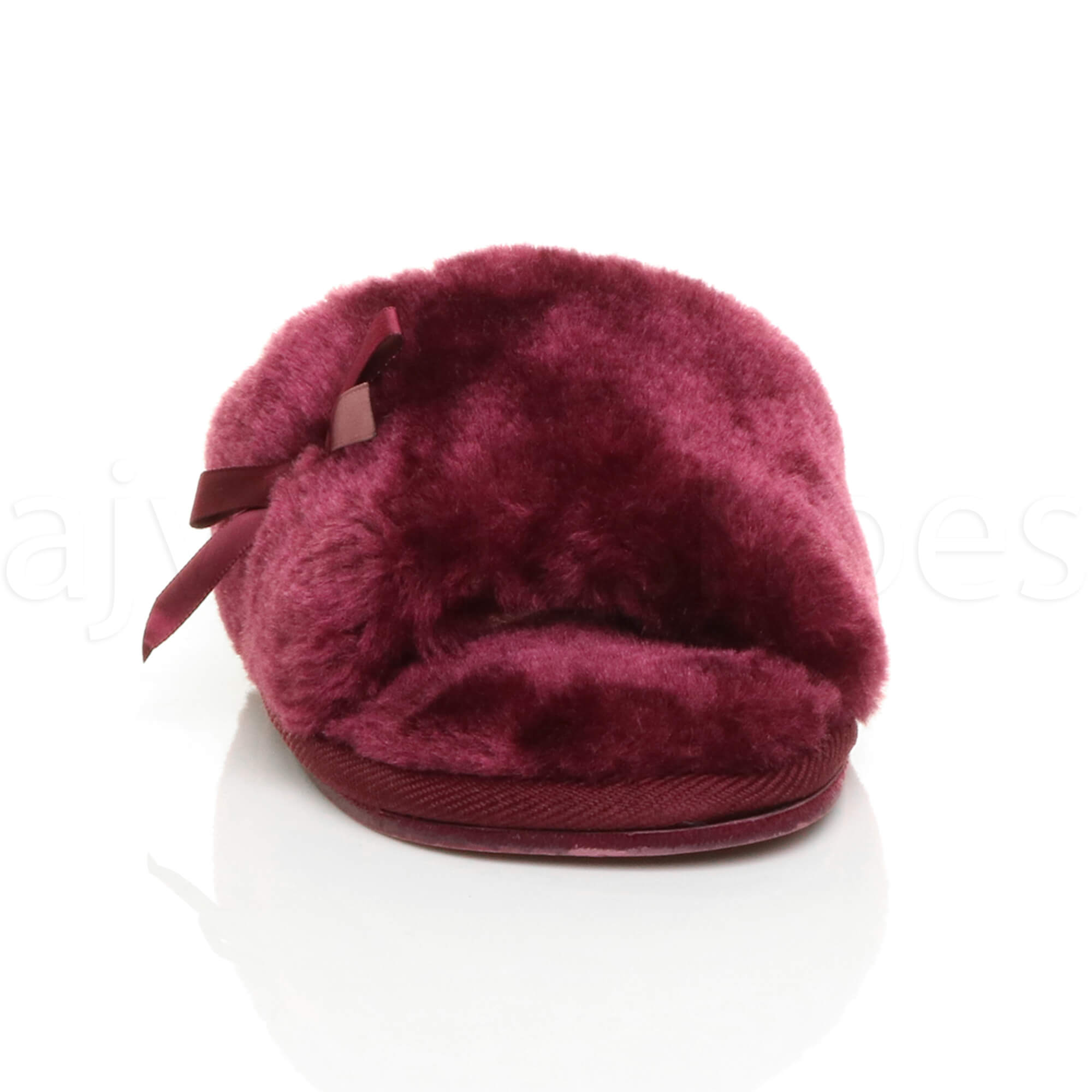 WOMENS-LADIES-FLAT-PEEP-TOE-BOW-LUXURY-COSY-FUR-LINED-SLIP-ON-SLIPPERS-SIZE thumbnail 23