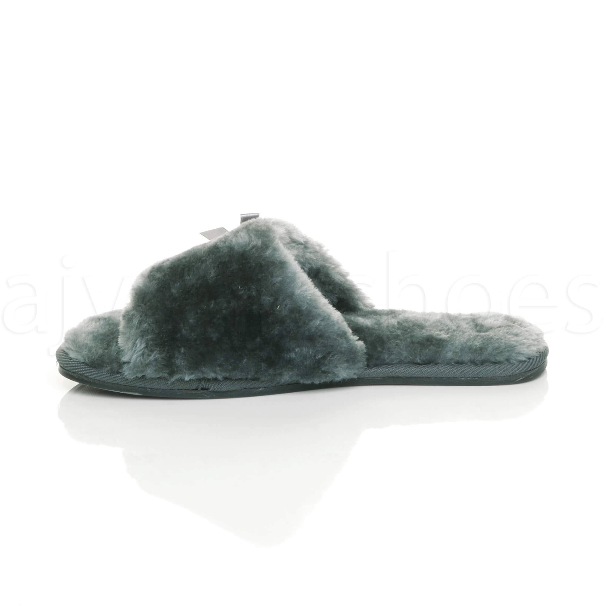 WOMENS-LADIES-FLAT-PEEP-TOE-BOW-LUXURY-COSY-FUR-LINED-SLIP-ON-SLIPPERS-SIZE thumbnail 28