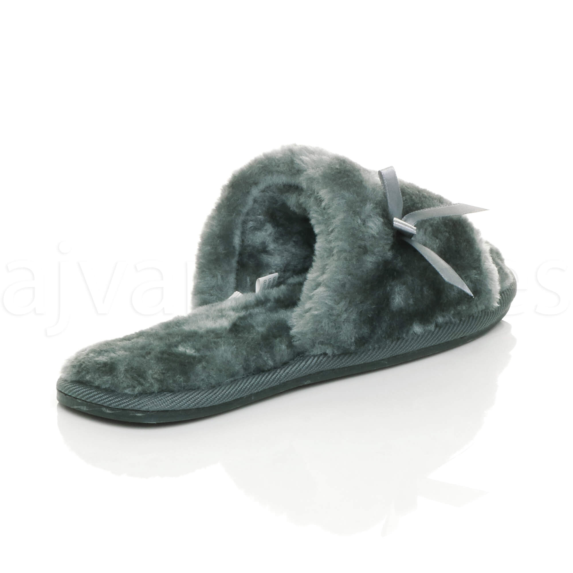 WOMENS-LADIES-FLAT-PEEP-TOE-BOW-LUXURY-COSY-FUR-LINED-SLIP-ON-SLIPPERS-SIZE thumbnail 29