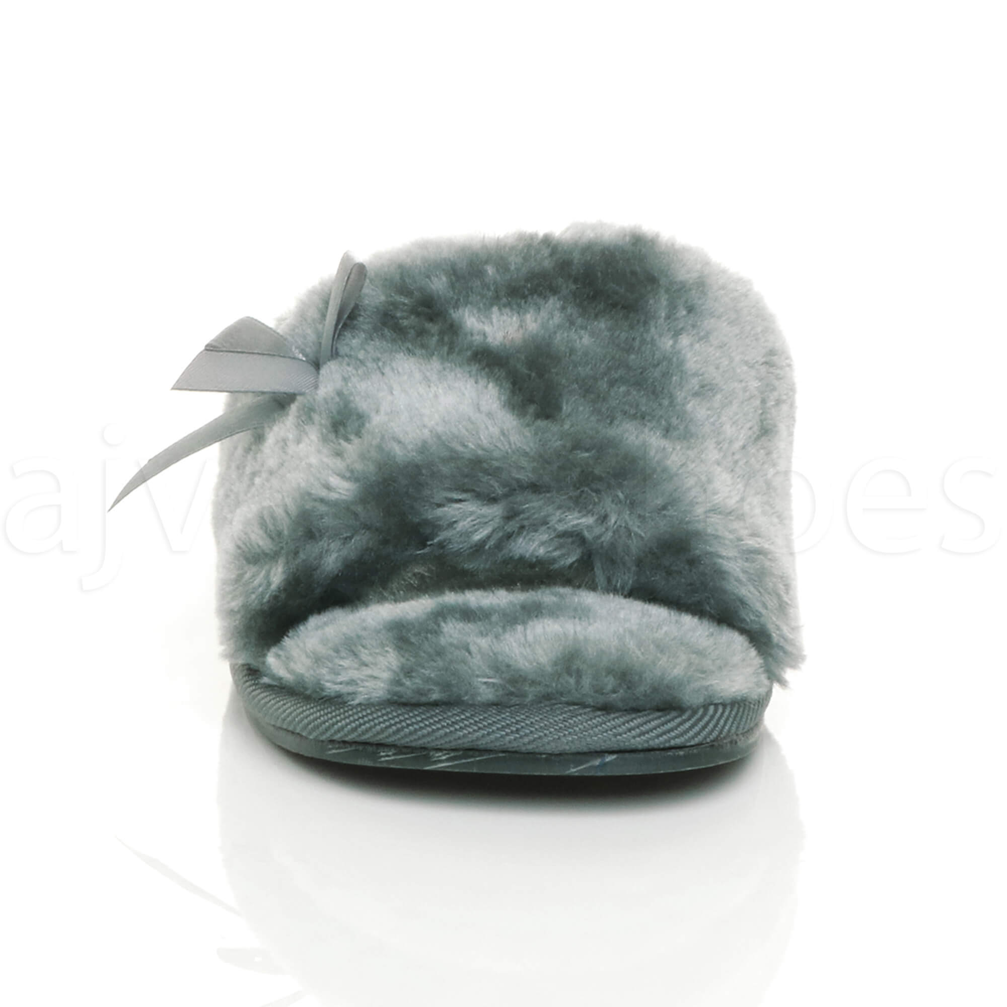 WOMENS-LADIES-FLAT-PEEP-TOE-BOW-LUXURY-COSY-FUR-LINED-SLIP-ON-SLIPPERS-SIZE thumbnail 31