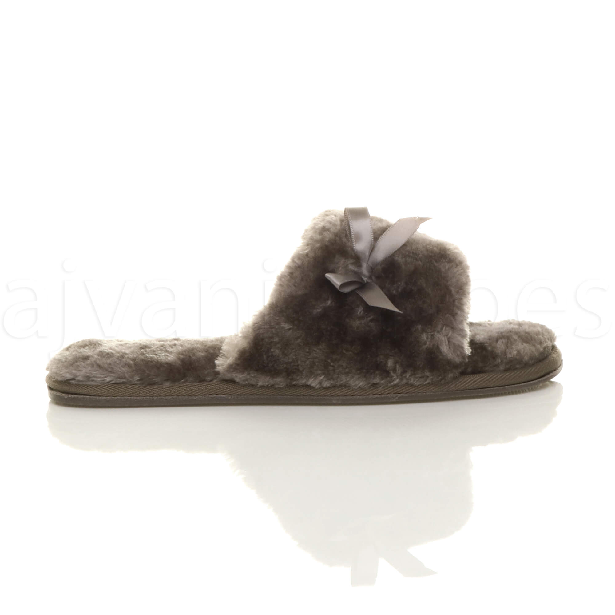 WOMENS-LADIES-FLAT-PEEP-TOE-BOW-LUXURY-COSY-FUR-LINED-SLIP-ON-SLIPPERS-SIZE thumbnail 35