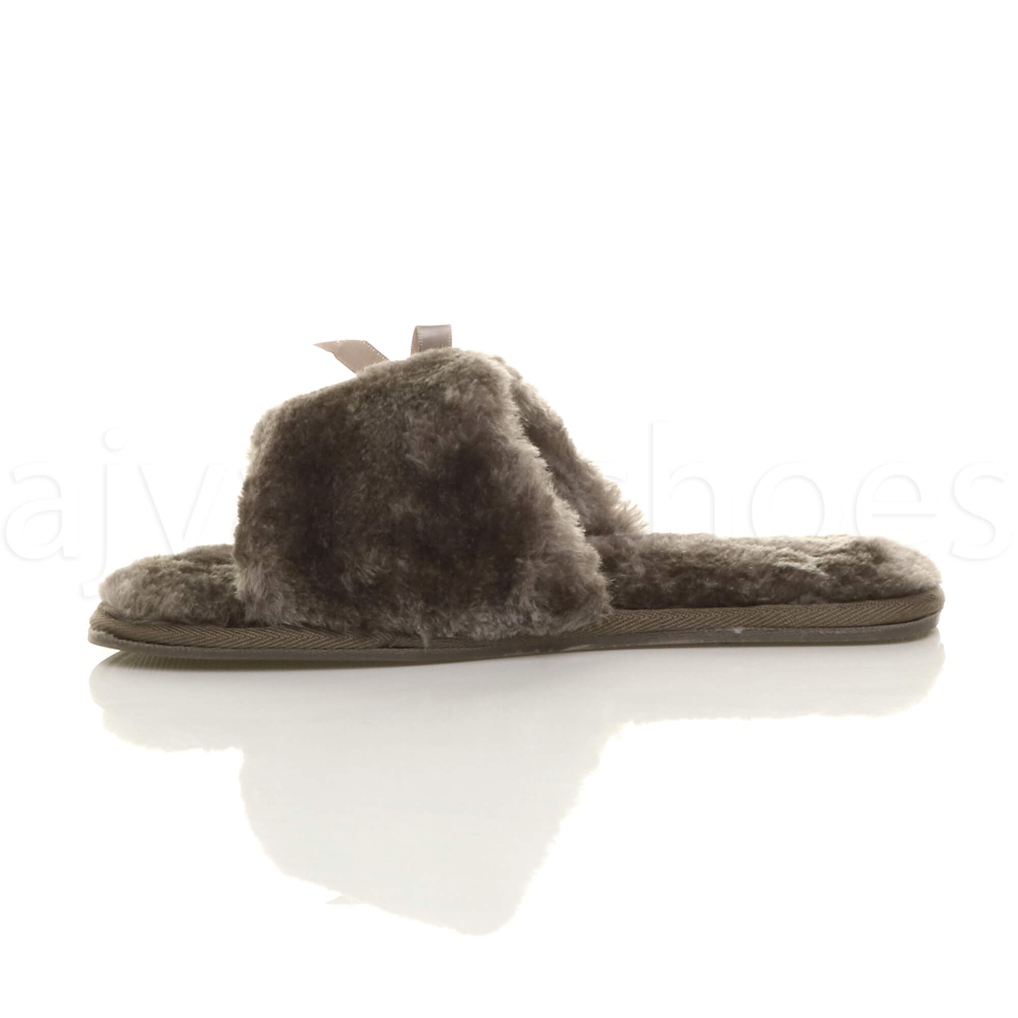 WOMENS-LADIES-FLAT-PEEP-TOE-BOW-LUXURY-COSY-FUR-LINED-SLIP-ON-SLIPPERS-SIZE thumbnail 36