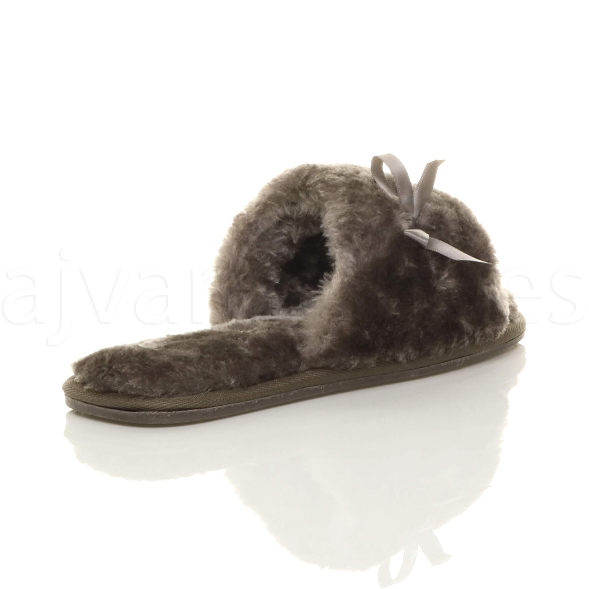 WOMENS-LADIES-FLAT-PEEP-TOE-BOW-LUXURY-COSY-FUR-LINED-SLIP-ON-SLIPPERS-SIZE thumbnail 37