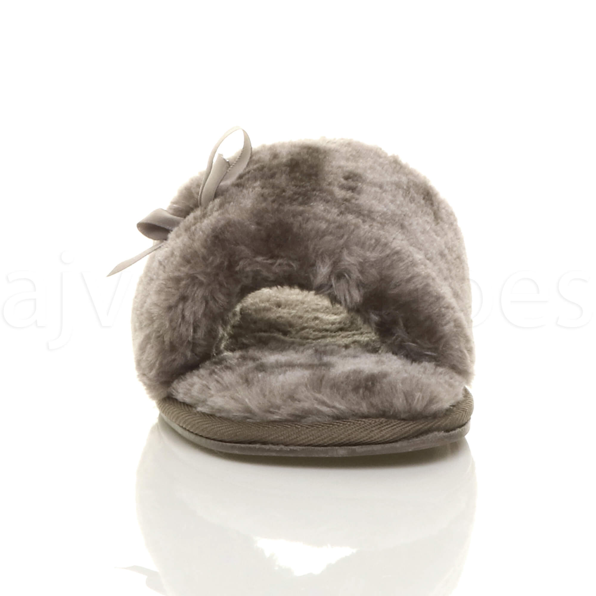 WOMENS-LADIES-FLAT-PEEP-TOE-BOW-LUXURY-COSY-FUR-LINED-SLIP-ON-SLIPPERS-SIZE thumbnail 39