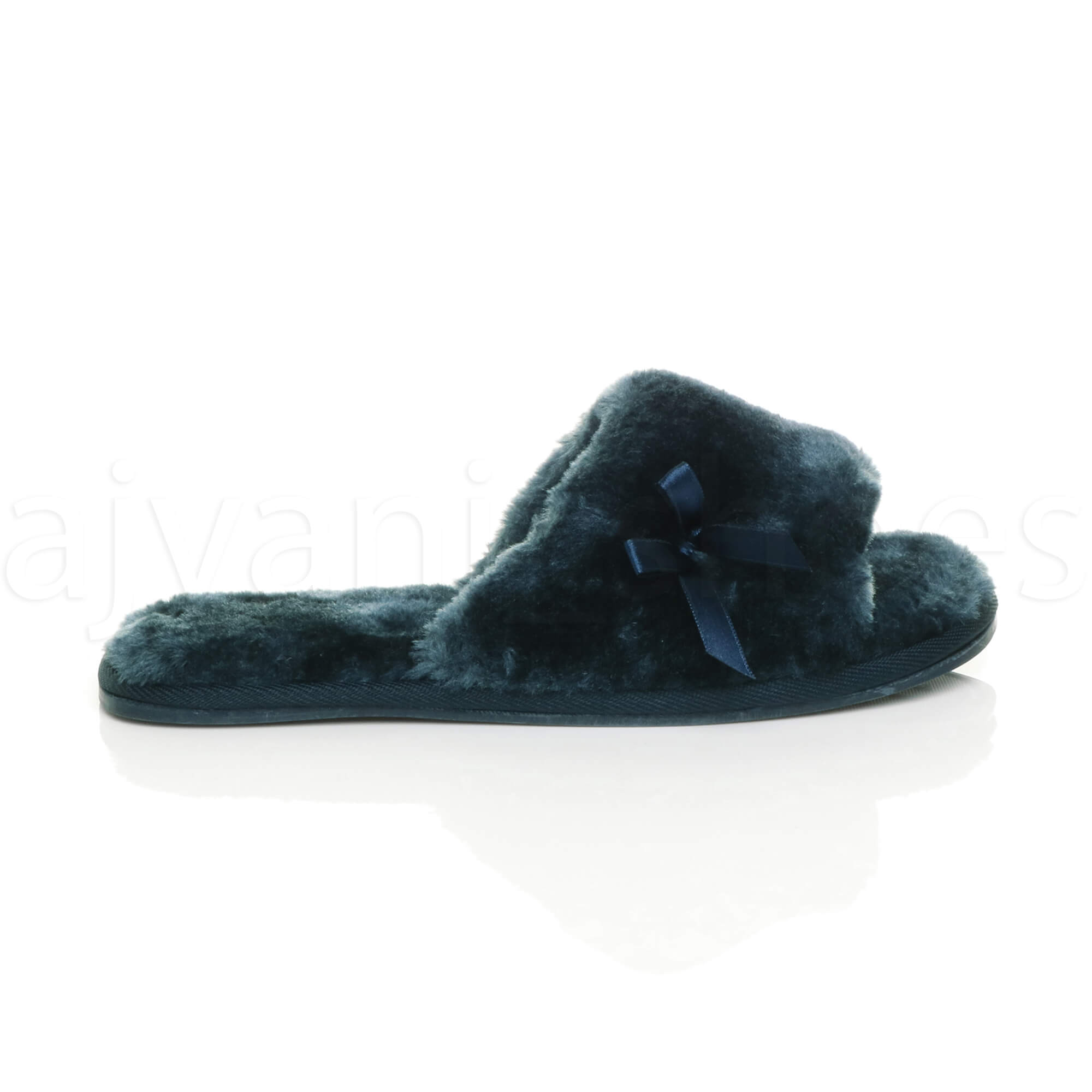WOMENS-LADIES-FLAT-PEEP-TOE-BOW-LUXURY-COSY-FUR-LINED-SLIP-ON-SLIPPERS-SIZE thumbnail 43