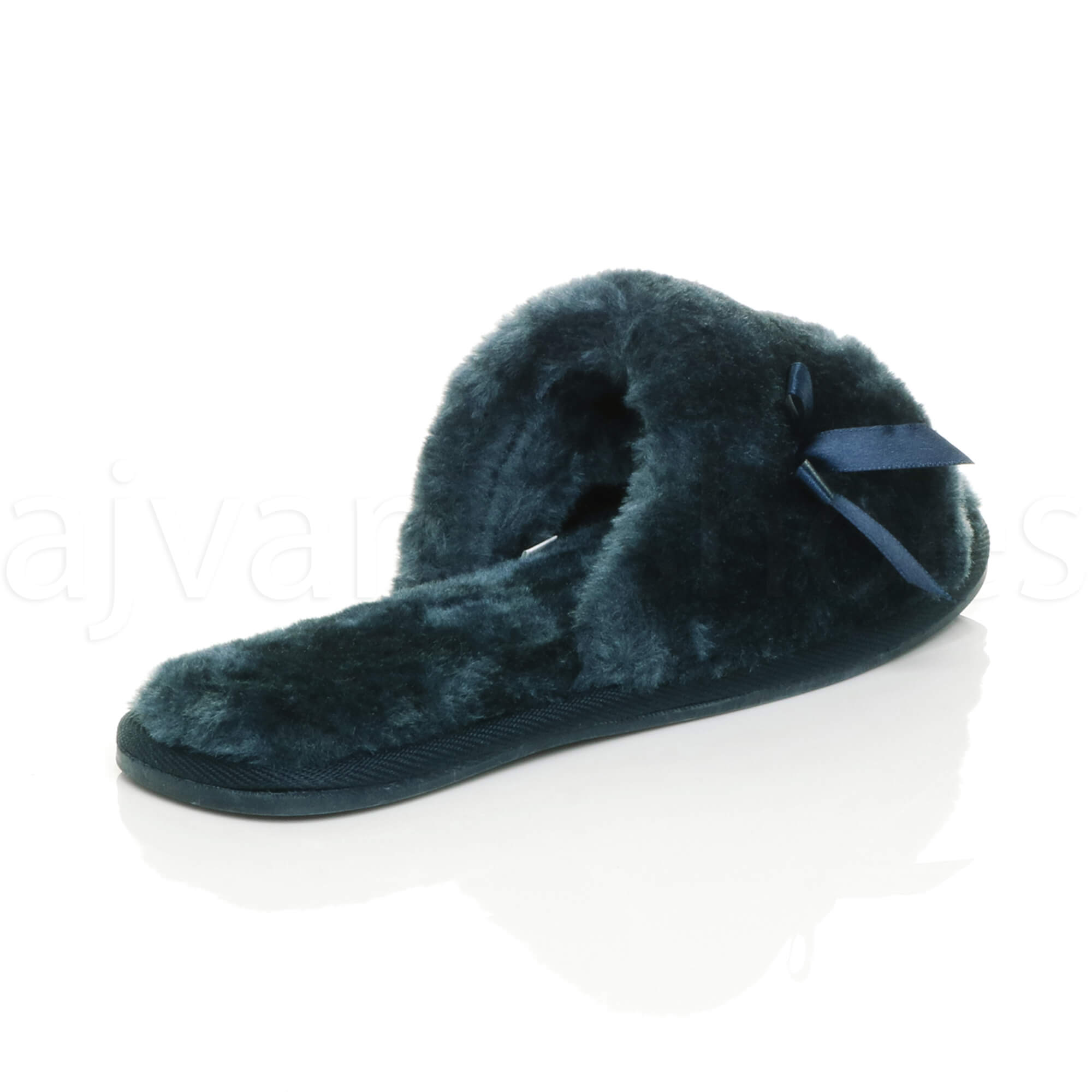 WOMENS-LADIES-FLAT-PEEP-TOE-BOW-LUXURY-COSY-FUR-LINED-SLIP-ON-SLIPPERS-SIZE thumbnail 45