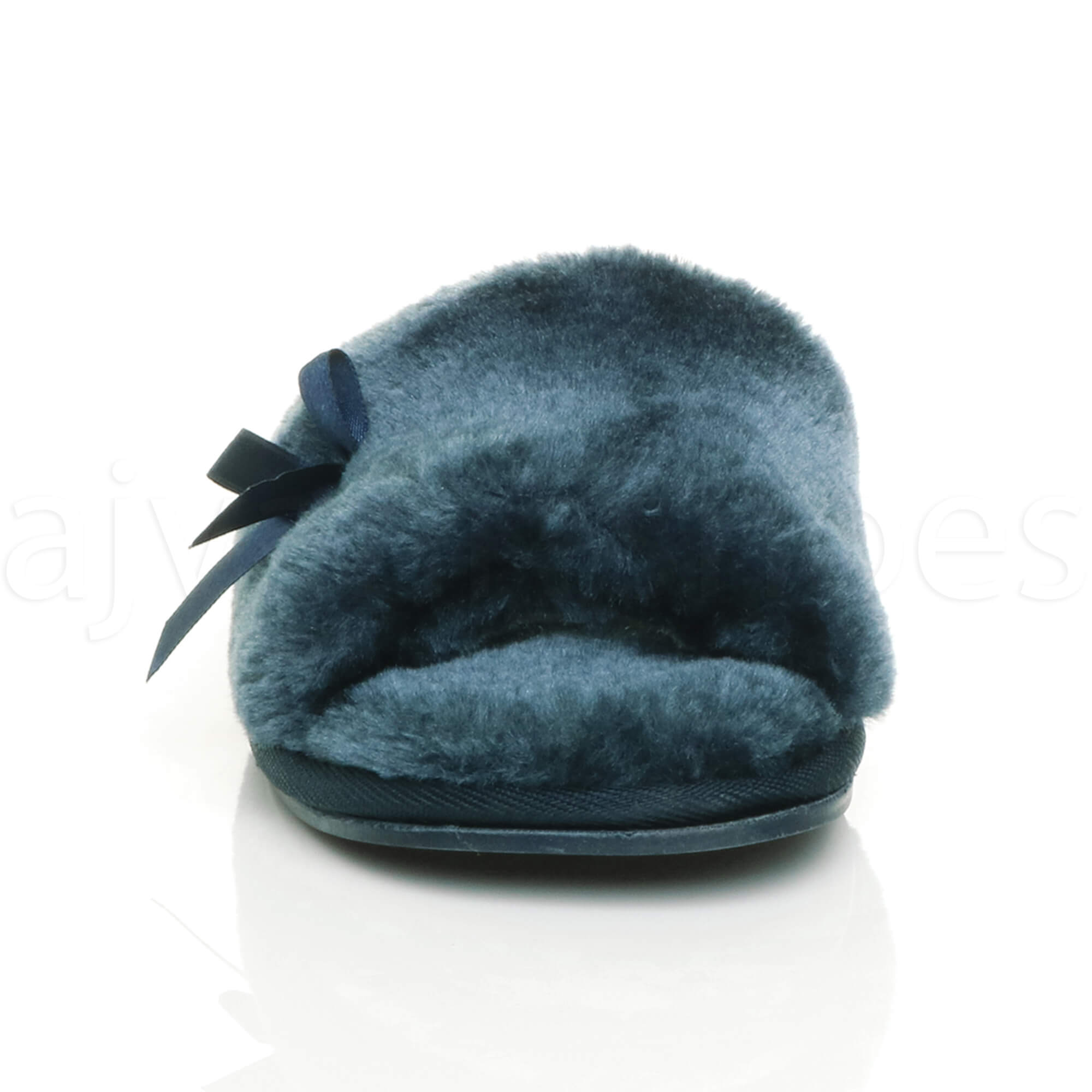 WOMENS-LADIES-FLAT-PEEP-TOE-BOW-LUXURY-COSY-FUR-LINED-SLIP-ON-SLIPPERS-SIZE thumbnail 47