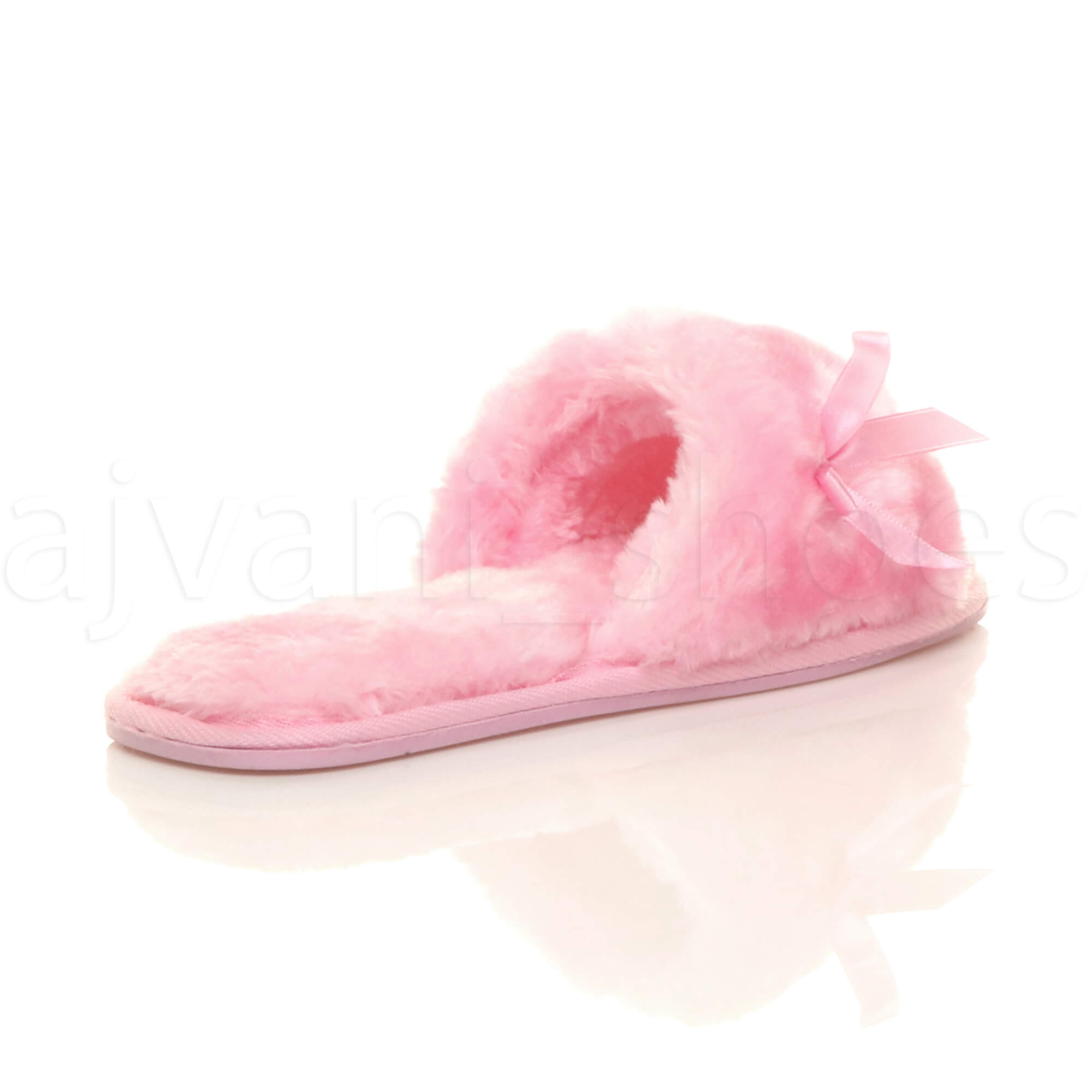 WOMENS-LADIES-FLAT-PEEP-TOE-BOW-LUXURY-COSY-FUR-LINED-SLIP-ON-SLIPPERS-SIZE thumbnail 53