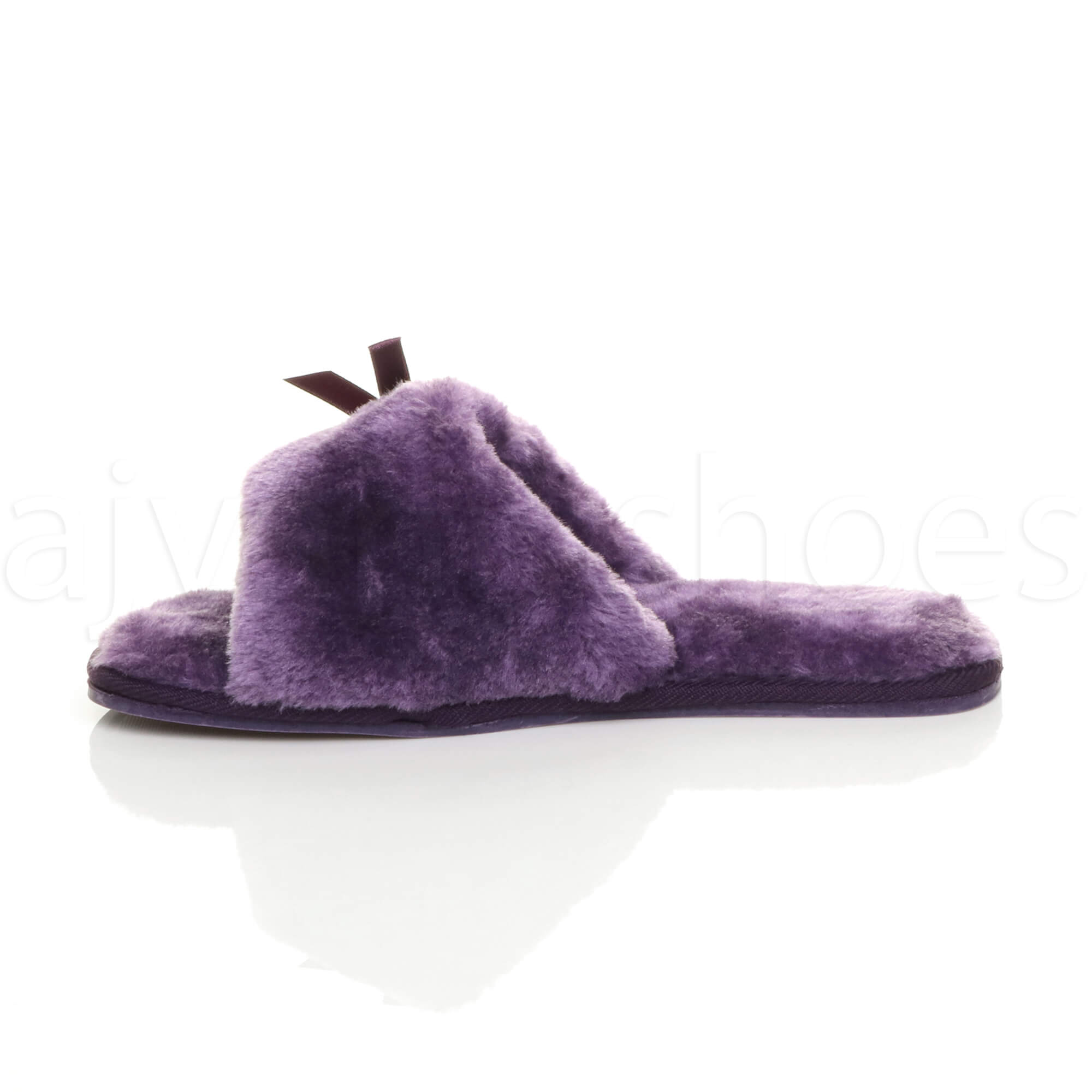 WOMENS-LADIES-FLAT-PEEP-TOE-BOW-LUXURY-COSY-FUR-LINED-SLIP-ON-SLIPPERS-SIZE thumbnail 60