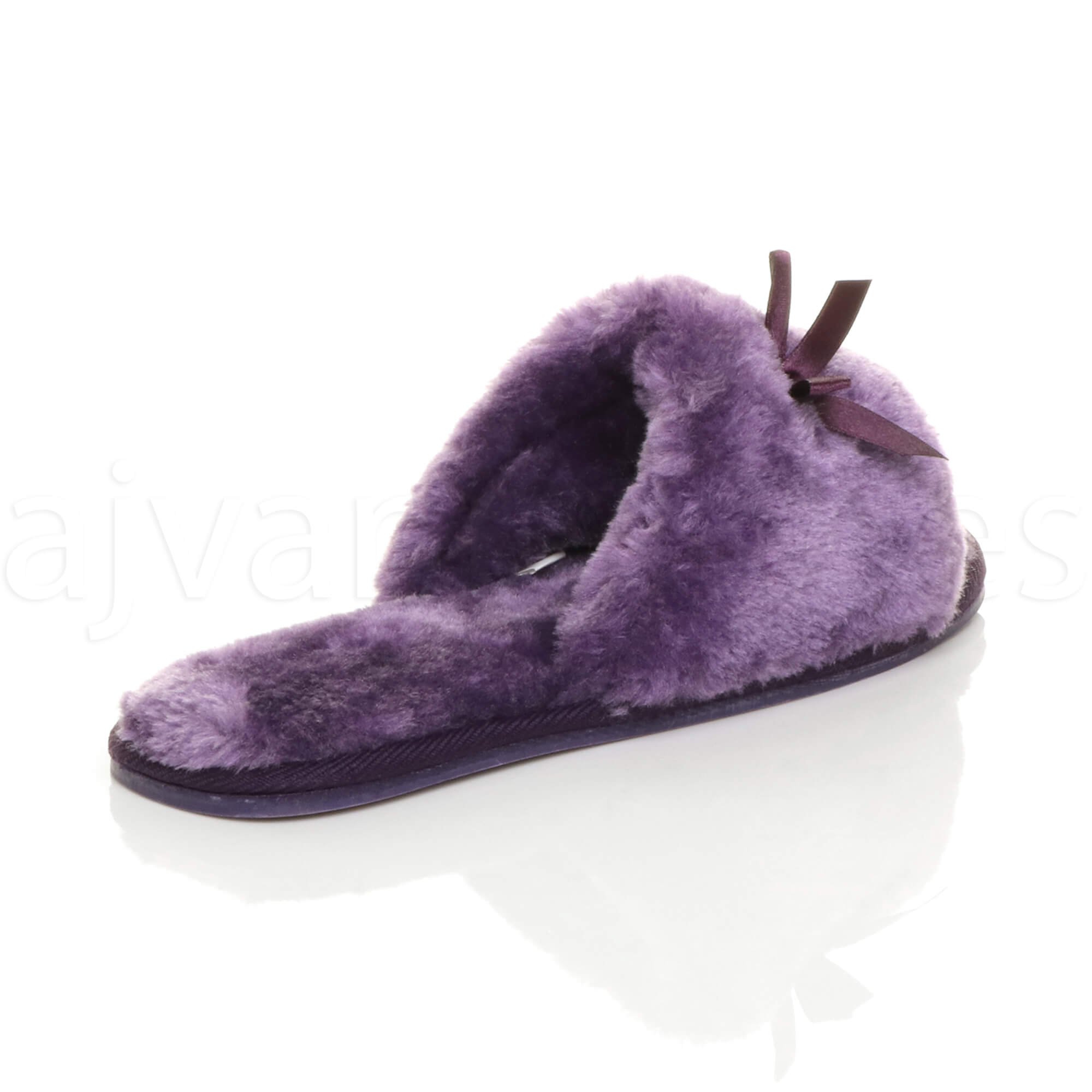 WOMENS-LADIES-FLAT-PEEP-TOE-BOW-LUXURY-COSY-FUR-LINED-SLIP-ON-SLIPPERS-SIZE thumbnail 61
