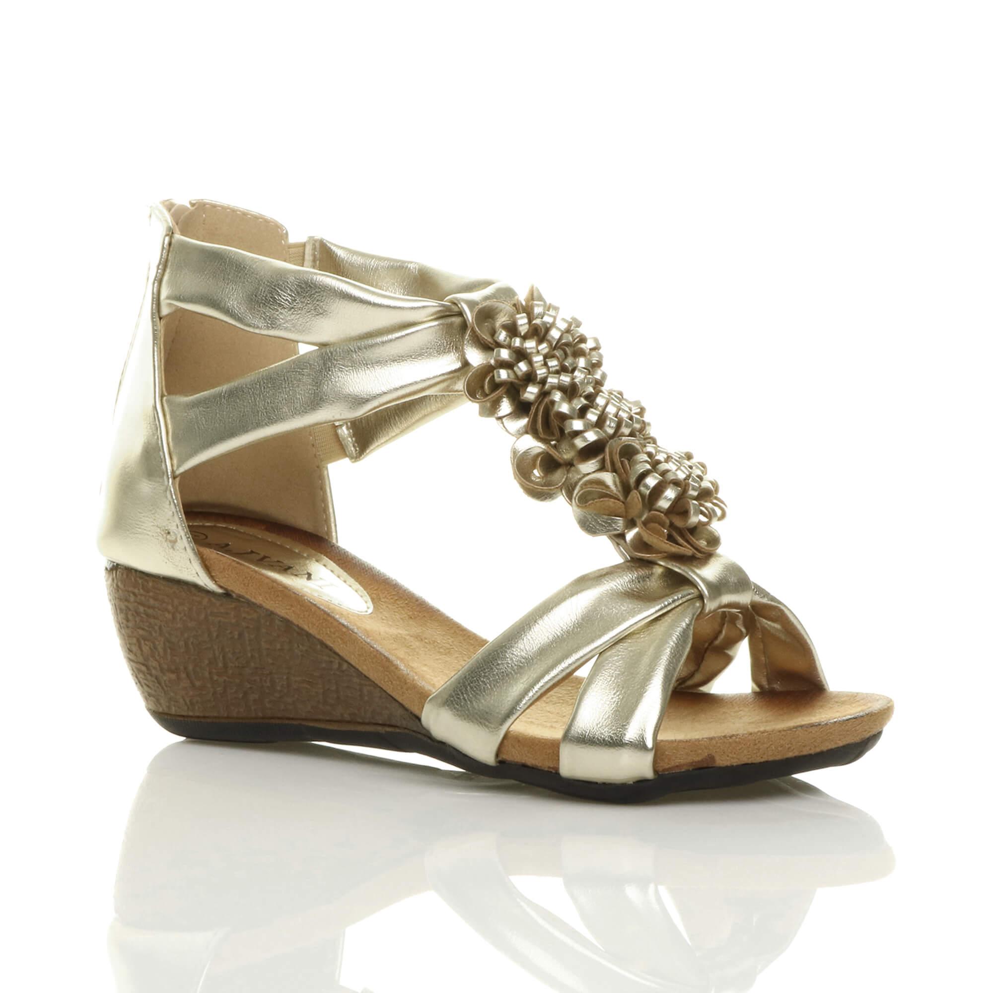 Damen Hohe Keilabsatz Peep Toe T-Riemen Blume Riemchensandalen Schuhe Größe 4 37 hupSB