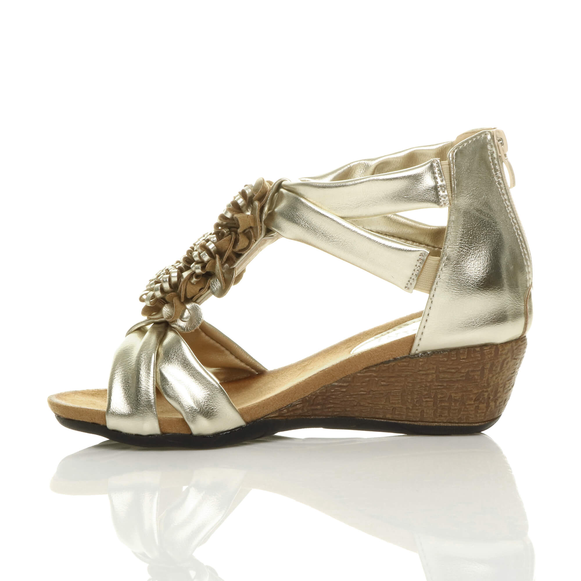 Womens Low Heel Gold Shoes