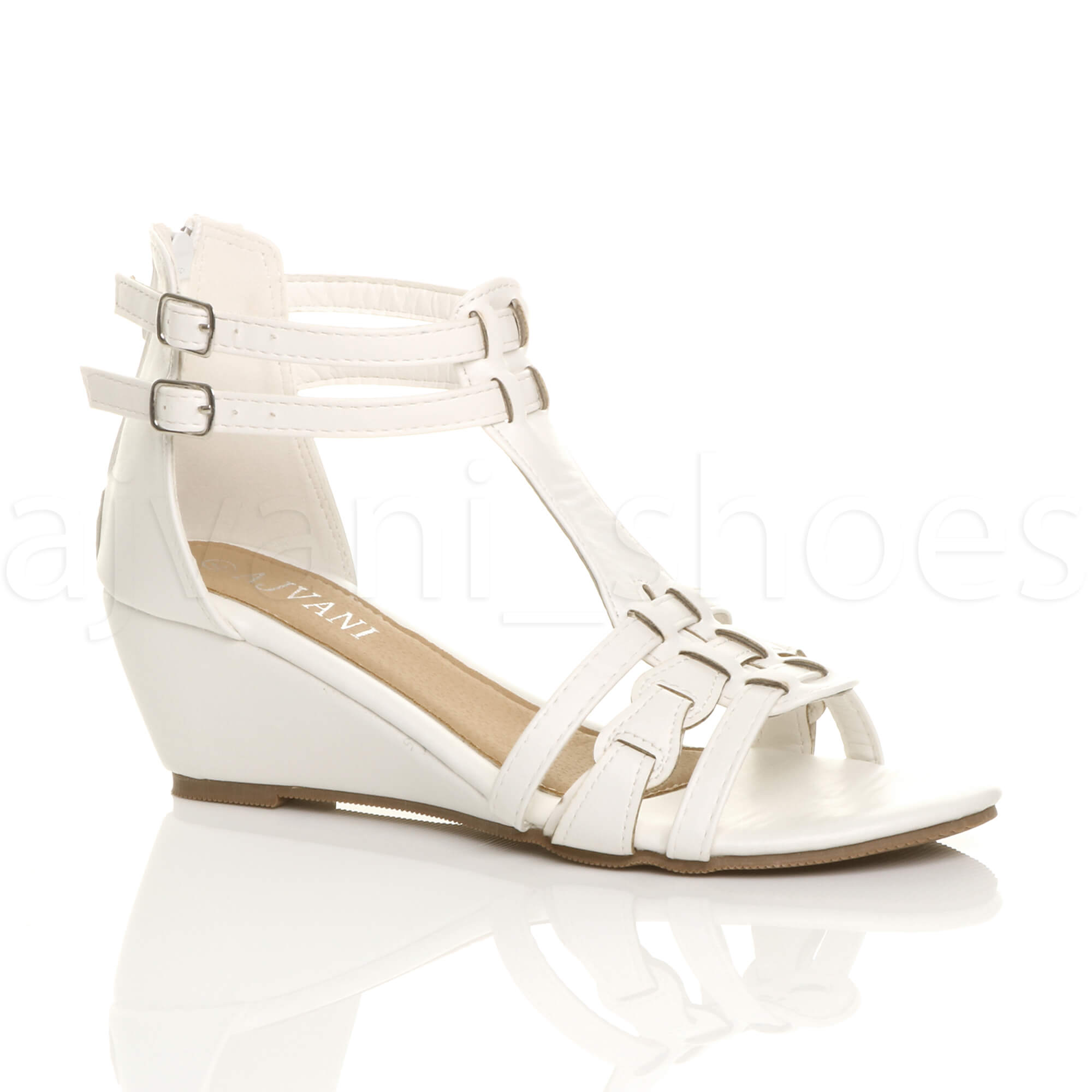 WOMENS-LADIES-LOW-MID-WEDGE-HEEL-BUCKLE-GLADIATOR-STRAPPY-T-BAR-SANDALS-SIZE