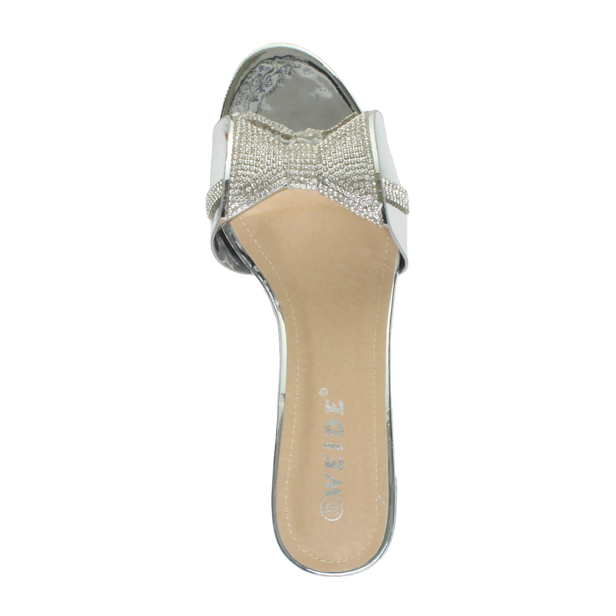 femmes talon moyen bas n ud diamante soir sandales f te tongs mules pointure ebay. Black Bedroom Furniture Sets. Home Design Ideas