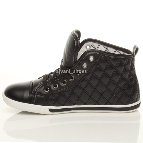 3de5376fbe99 WOMENS LADIES FLAT LACE UP QUILTED HI HIGH TOP PUMPS TRAINERS SHOES ...